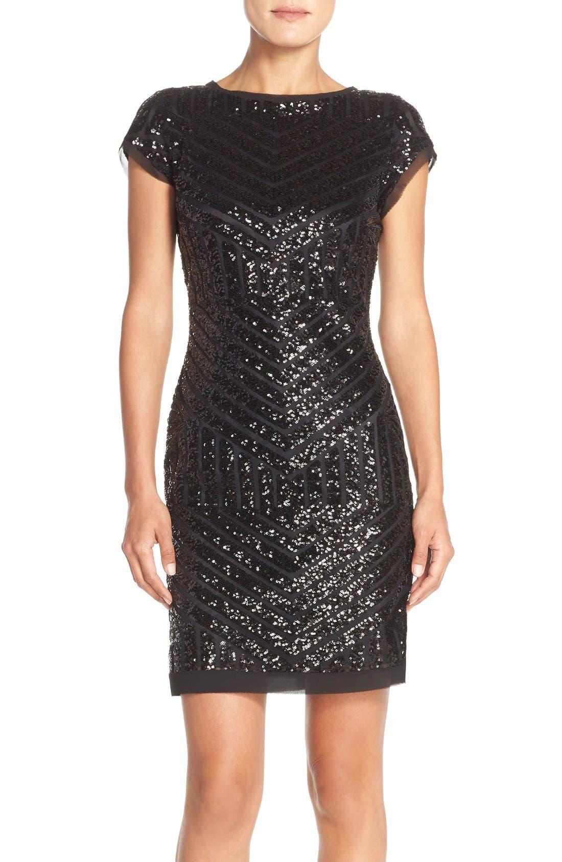 Alternate Image 1 Selected - Vince Camuto Chevron Sequin Sheath Dress (Regular & Petite)