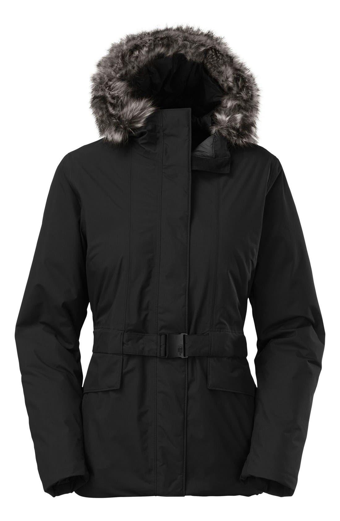 Main Image - The North Face 'Dunagiri' Waterproof Down Parka with Faux Fur Trim