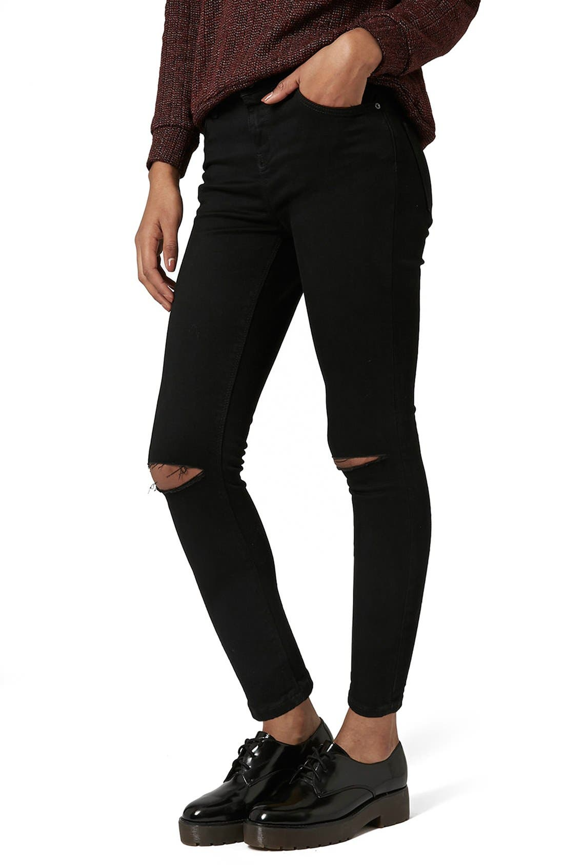 Main Image - Topshop Moto 'Jamie' Ripped Skinny Jeans (Tall)