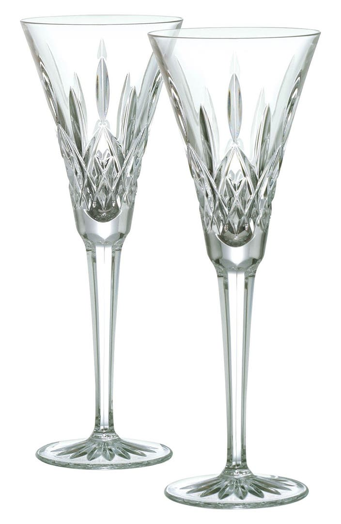 Waterford Lismore Lead Crystal Champagne Flutes Set Of