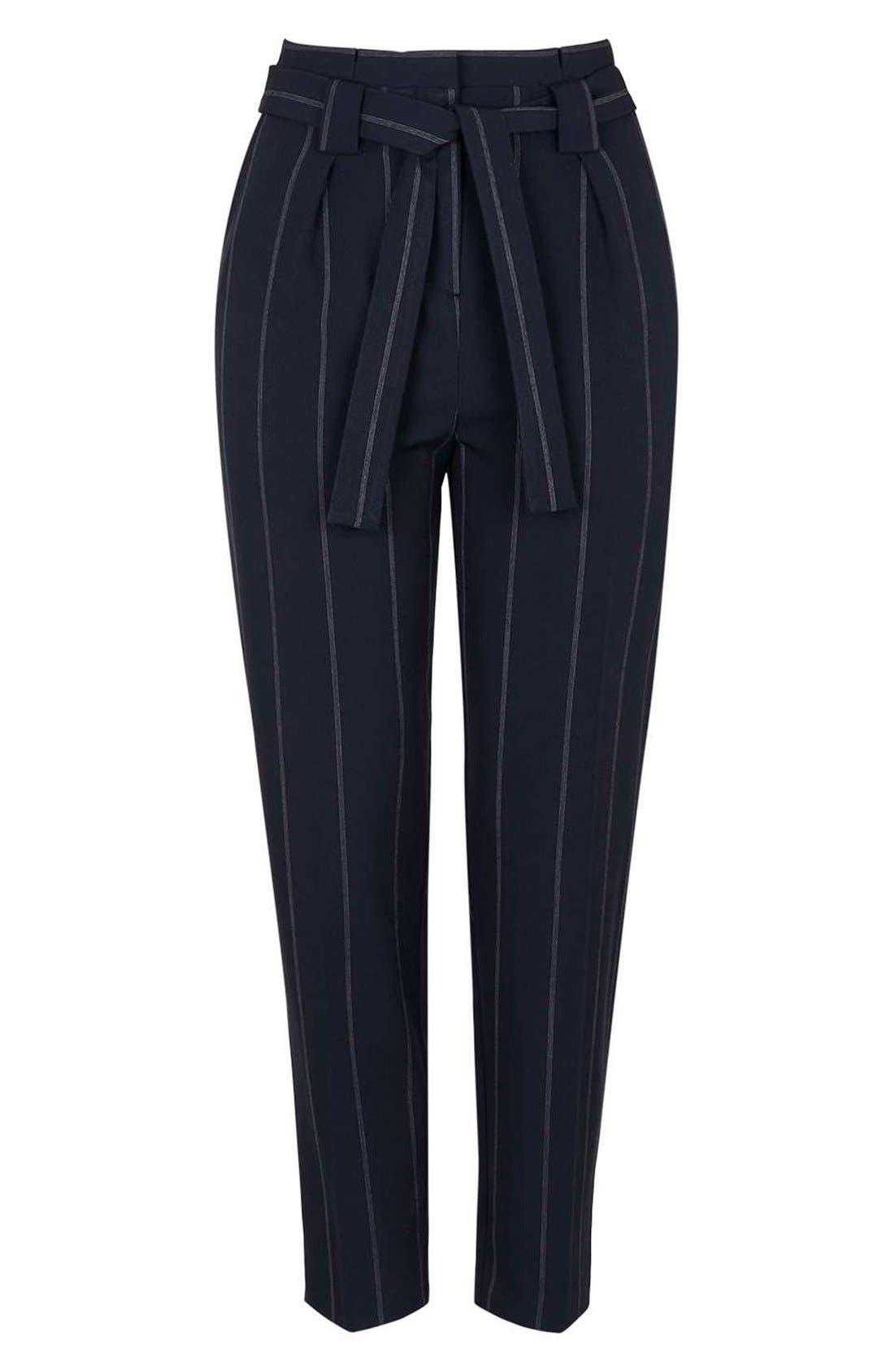 Alternate Image 4  - Topshop Belted Pinstripe Pants (Regular & Petite)