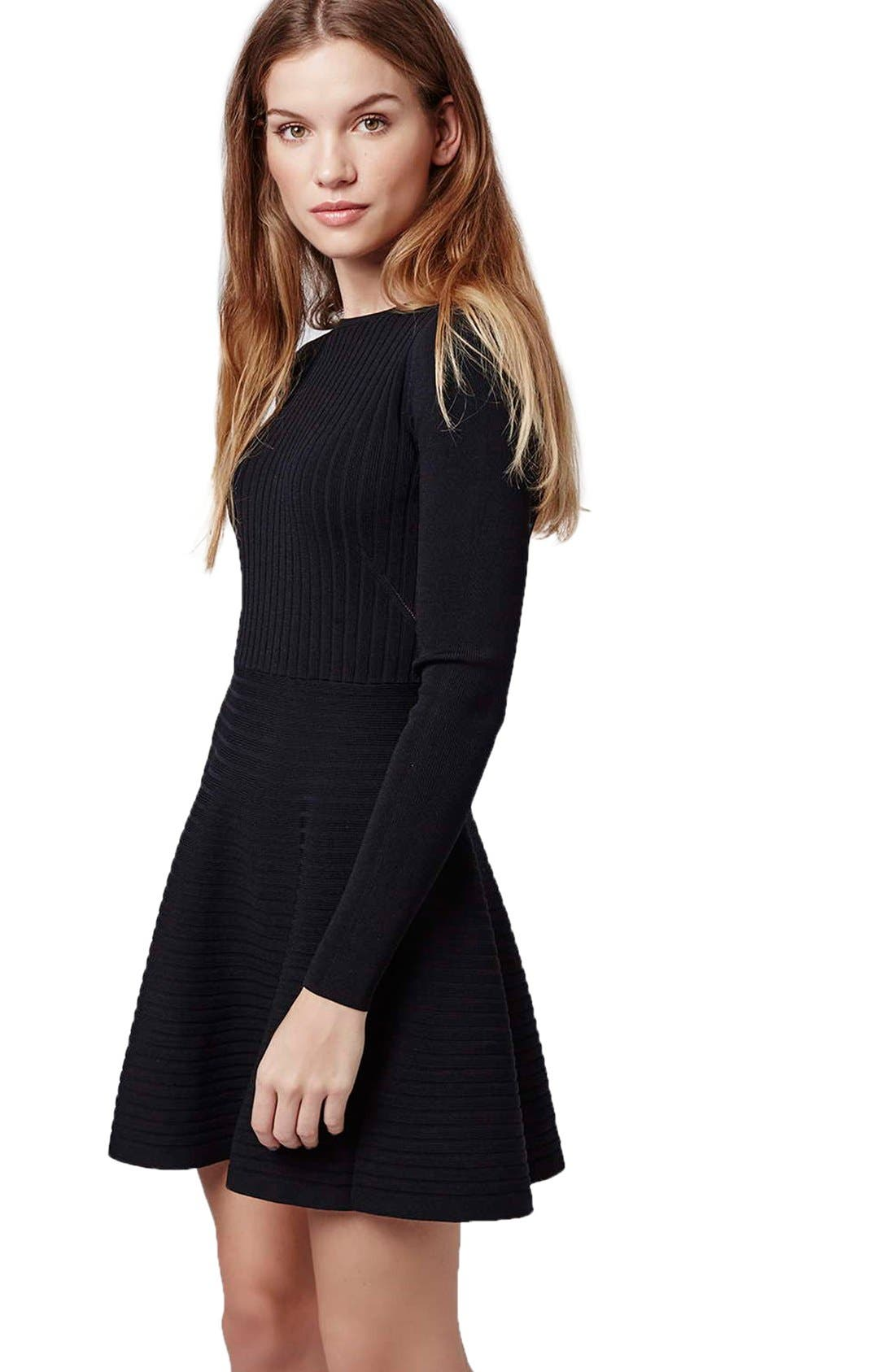 Alternate Image 3  - Topshop Ribbed Skater Dress with Lace-Up Back