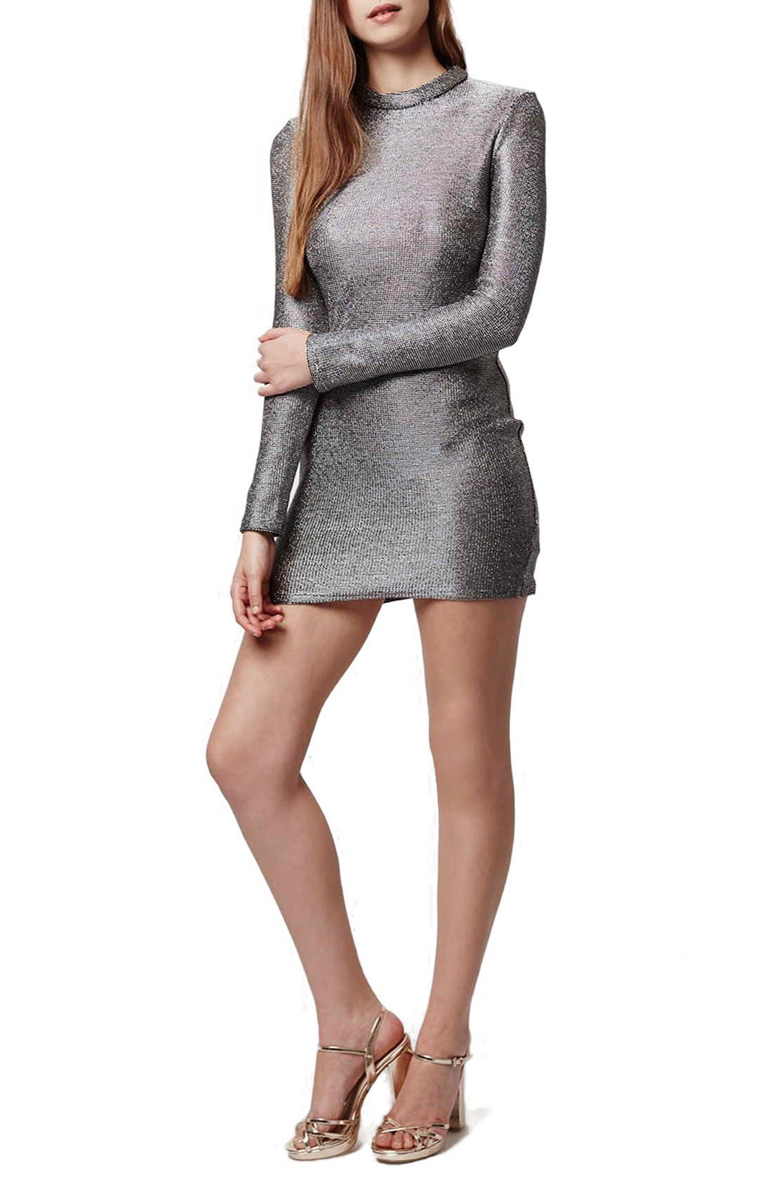 Main Image - Topshop Mock Neck Chainmail Body-Con Dress