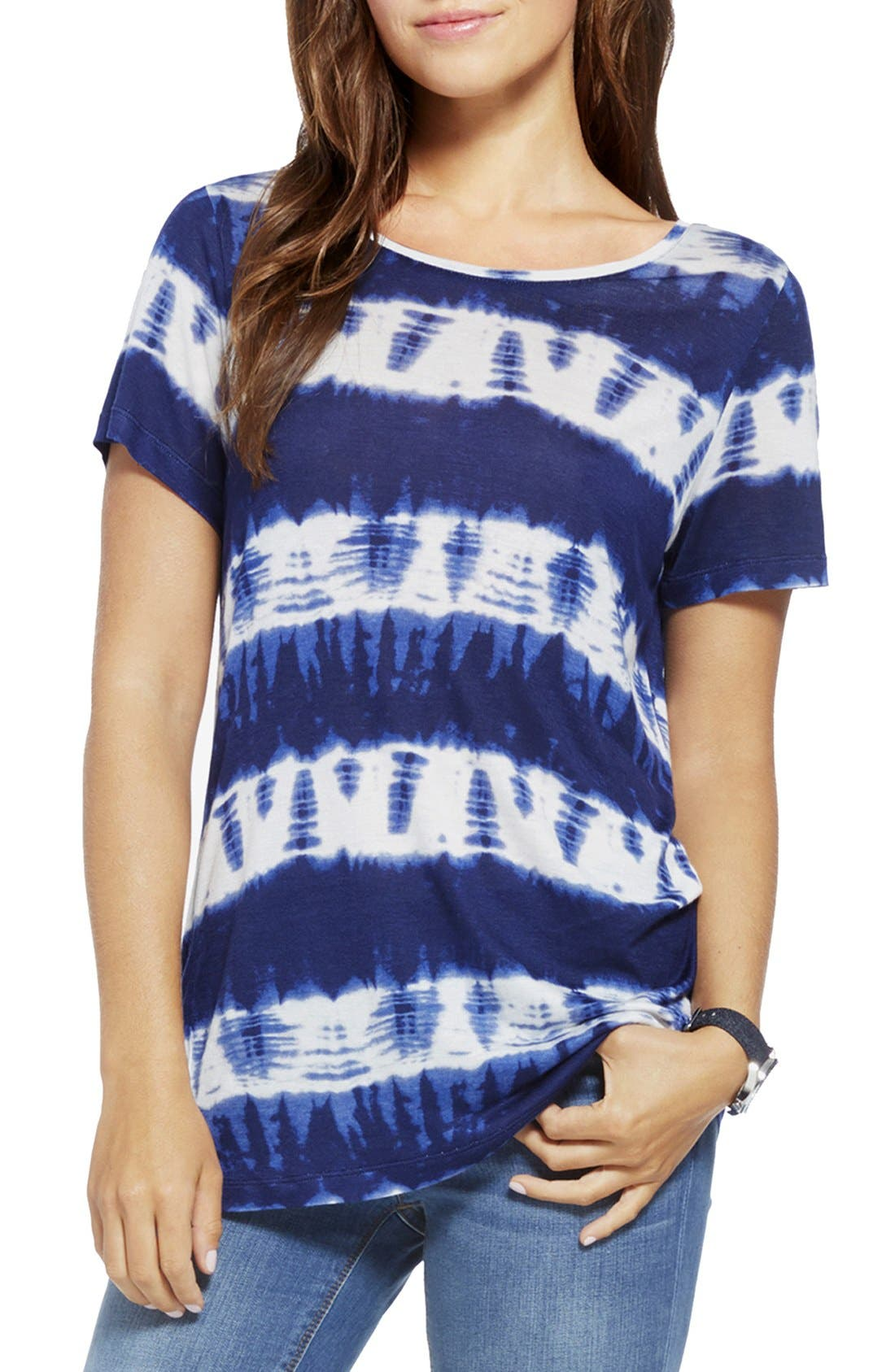 Main Image - Two by Vince Camuto Tie Dye Stripe Ballet Neck Tee