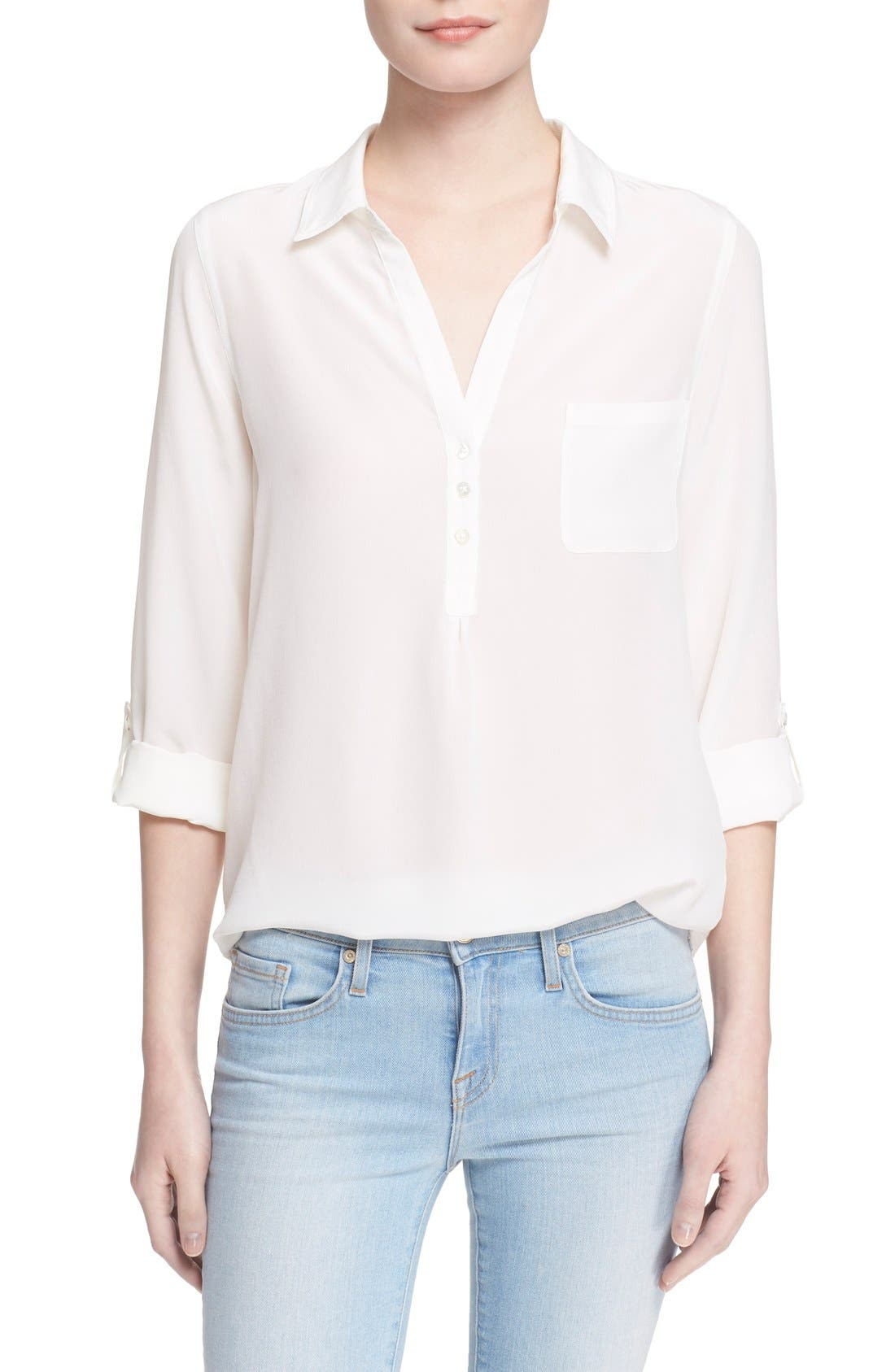 Main Image - Soft Joie 'Trikonis' Mixed Media Silk & Cotton Top