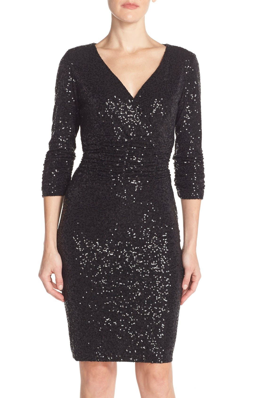 Alternate Image 1 Selected - Nue by Shani Ruched Sequin Sheath Dress