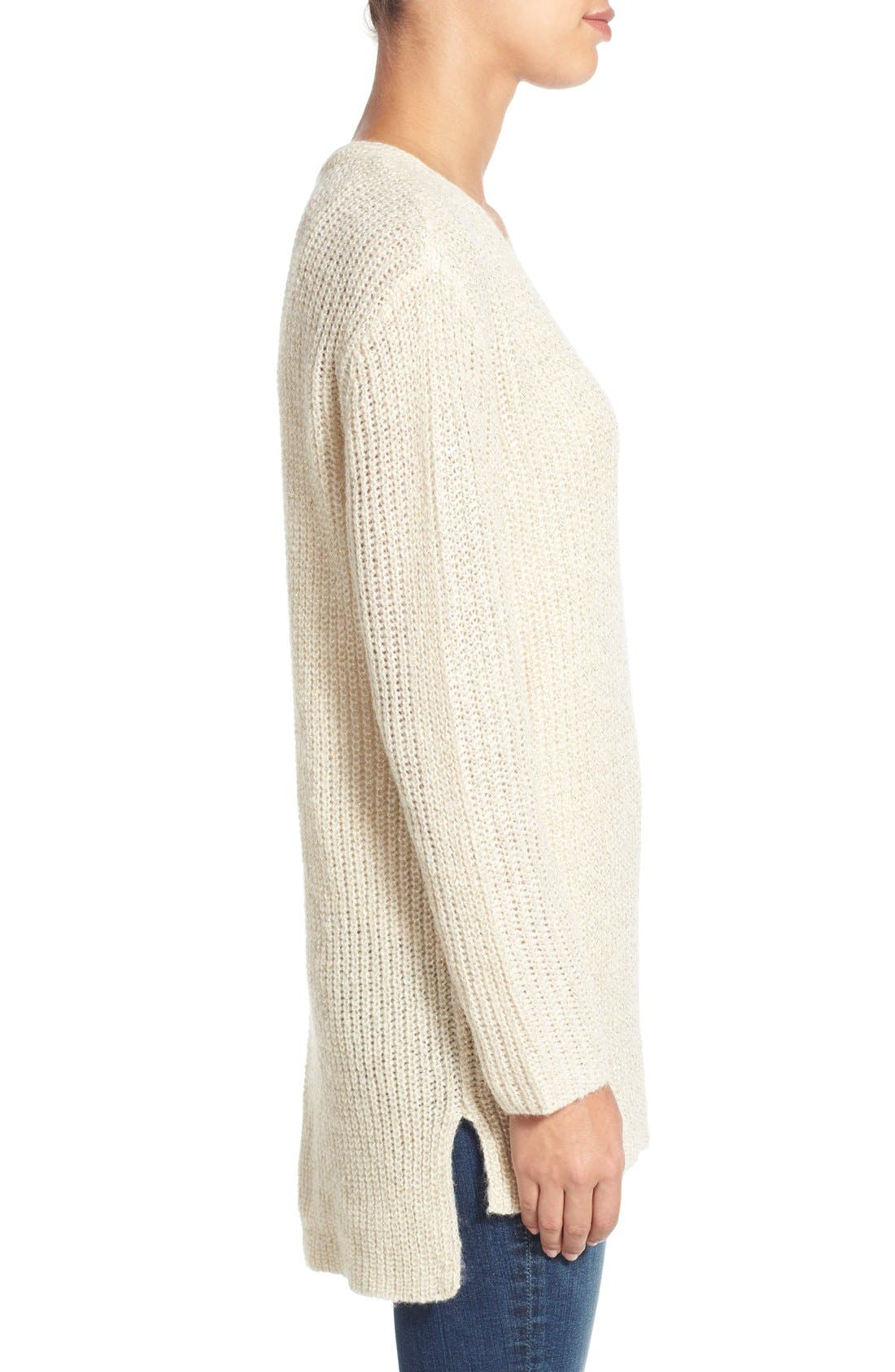 Alternate Image 3  - Two by Vince Camuto Metallic Flecked V-Neck Sweater