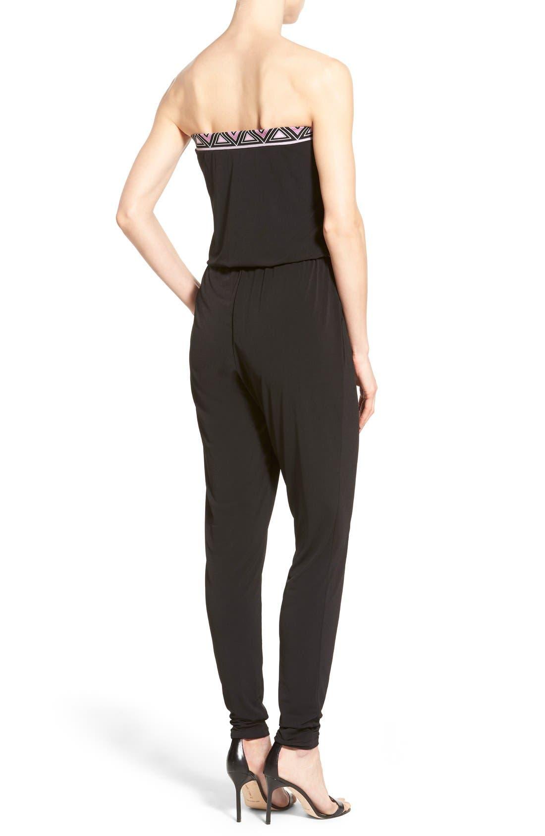 Alternate Image 2  - MICHAEL Michael Kors Belted Border Print Jersey Strapless Jumpsuit