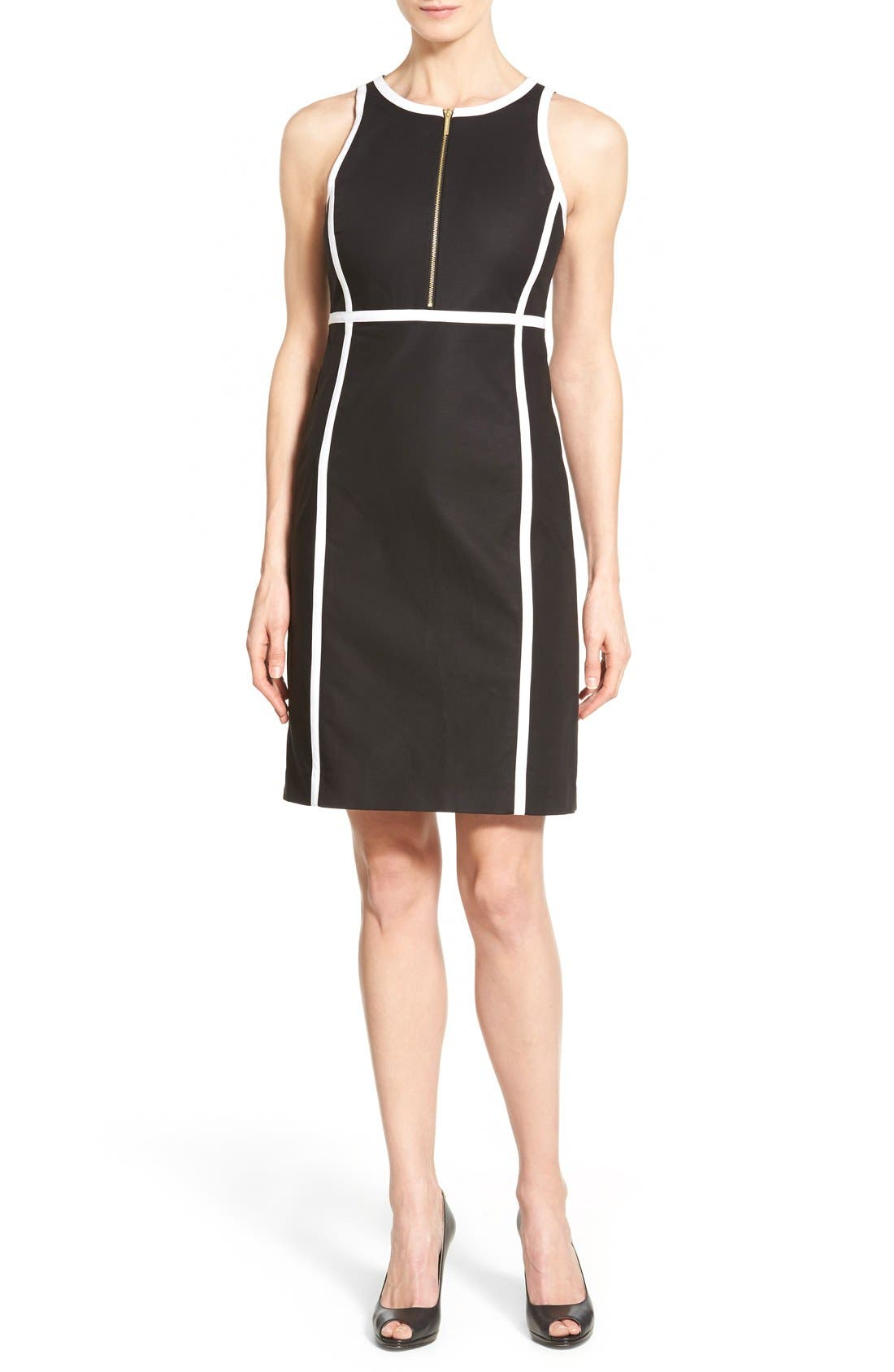 Alternate Image 1 Selected - MICHAEL Michael Kors Contrast Trim Front Zip Sheath Dress (Regular & Petite)