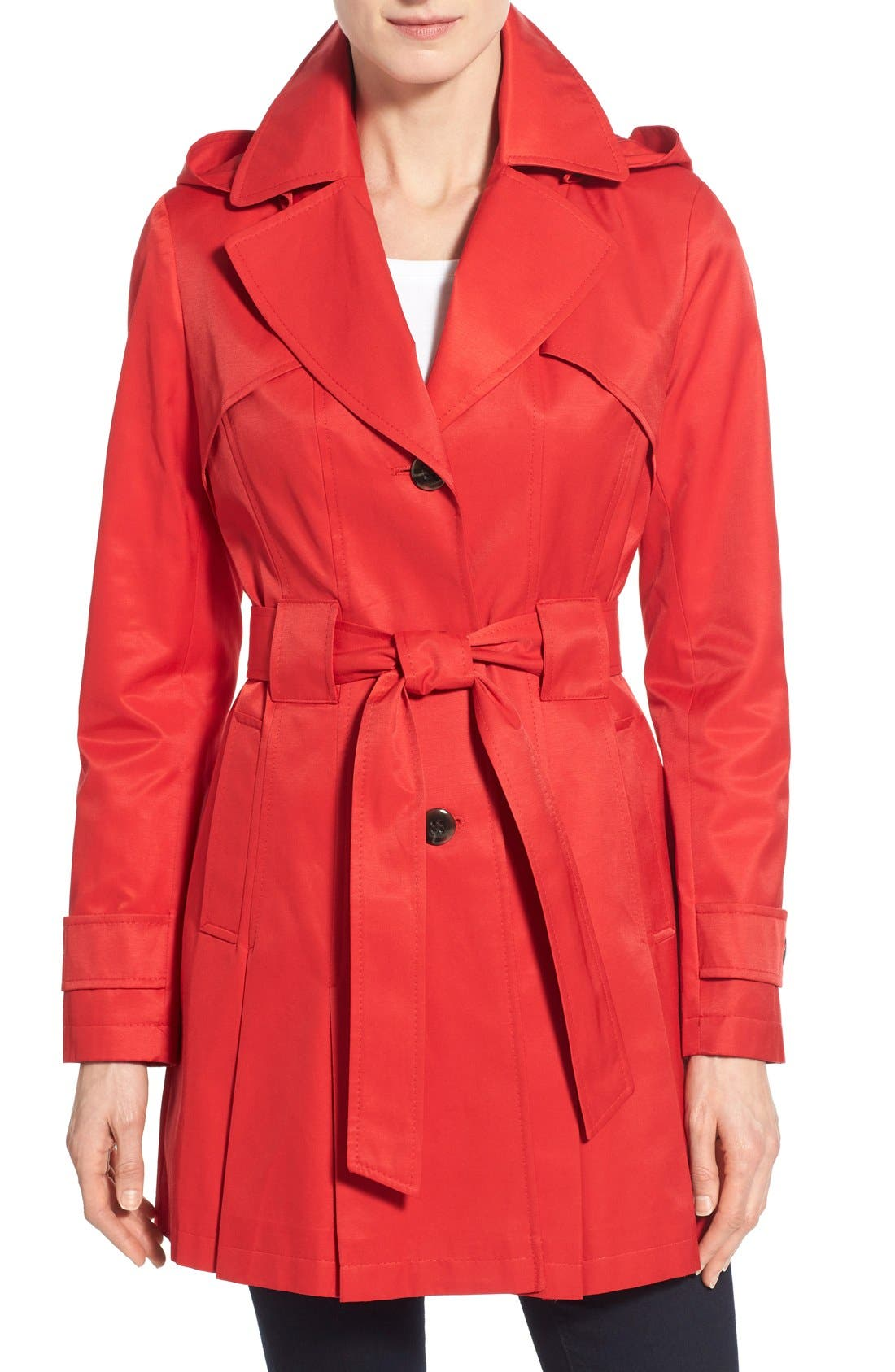 Via Spiga 'Scarpa' Hooded Single Breasted Trench Coat (Regular & Petite)