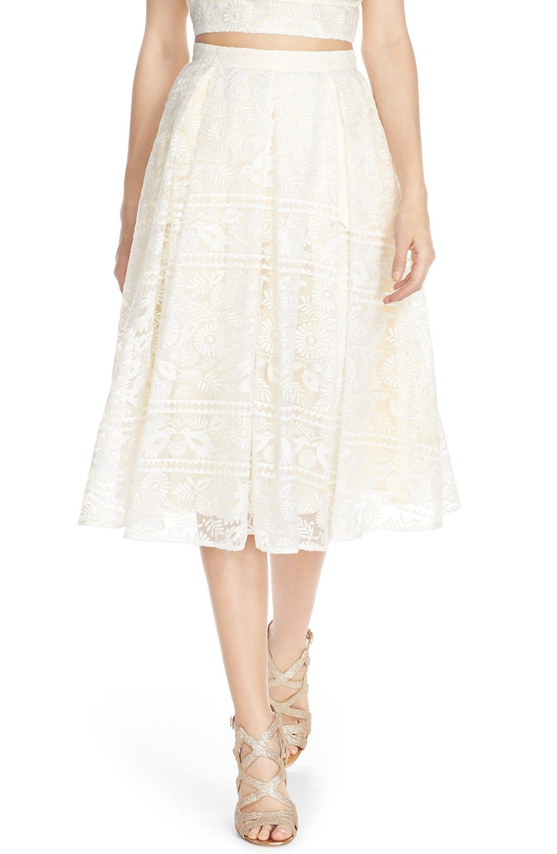 Alternate Image 1 Selected - Paper Crown by Lauren Conrad 'Marietta' Lace Organza Full Skirt