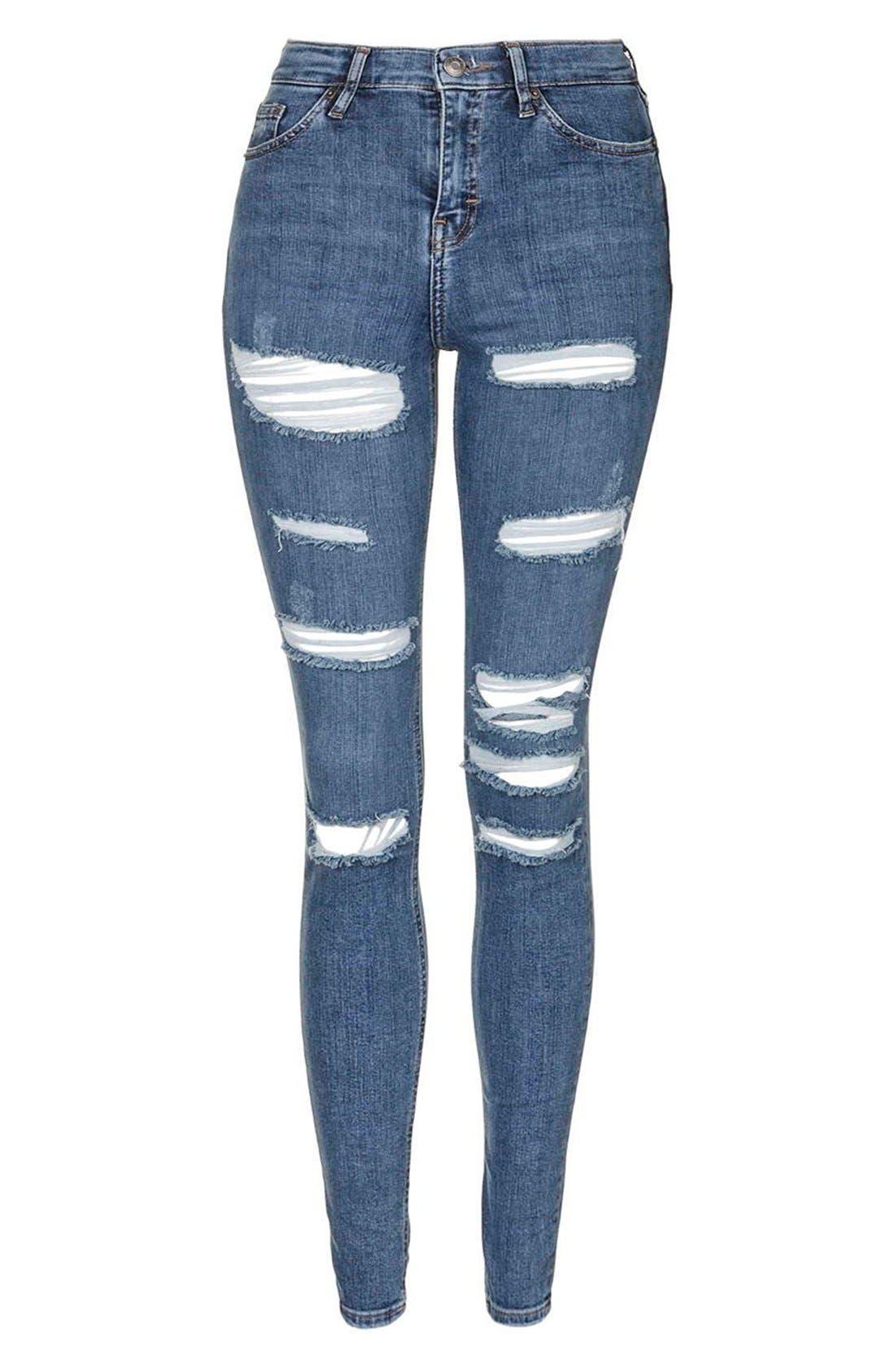Alternate Image 4  - Topshop Moto 'Jamie' Shredded Skinny Jeans