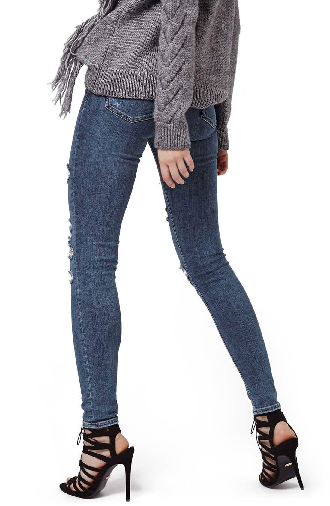 Alternate Image 3  - Topshop Moto 'Jamie' Shredded Skinny Jeans