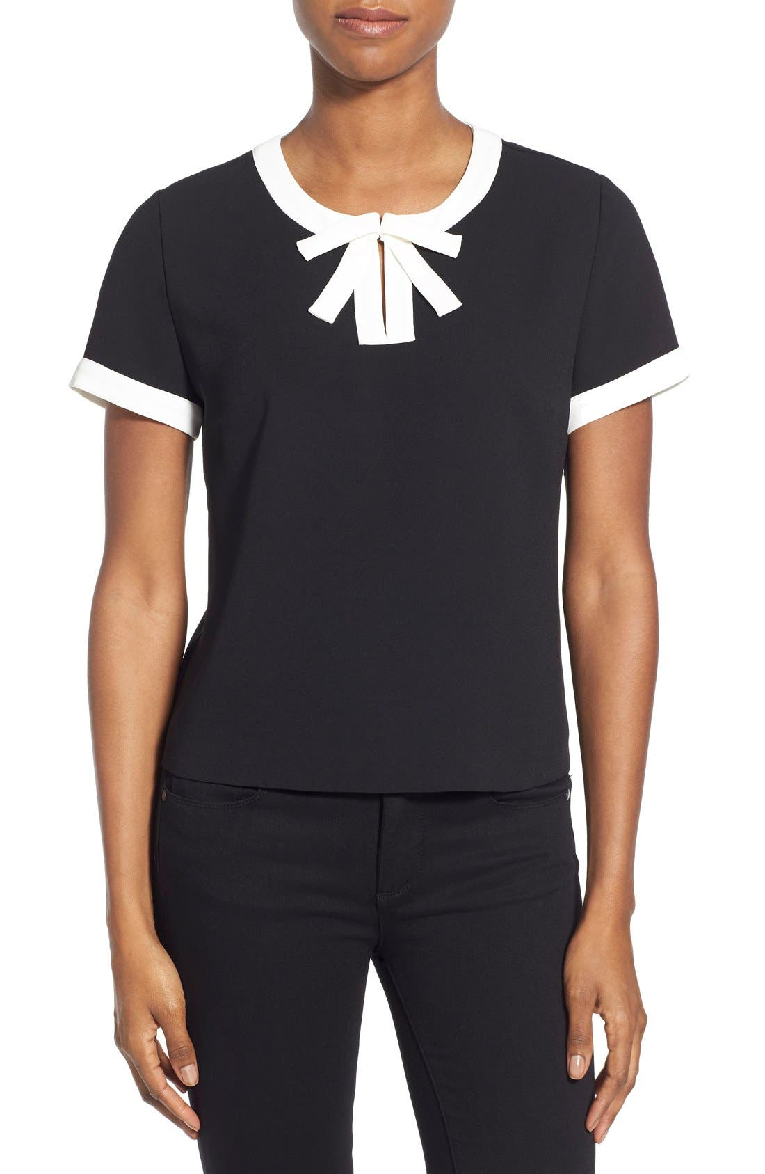 Alternate Image 1 Selected - CeCe by Cynthia Steffe Contrast Bow Crepe Blouse