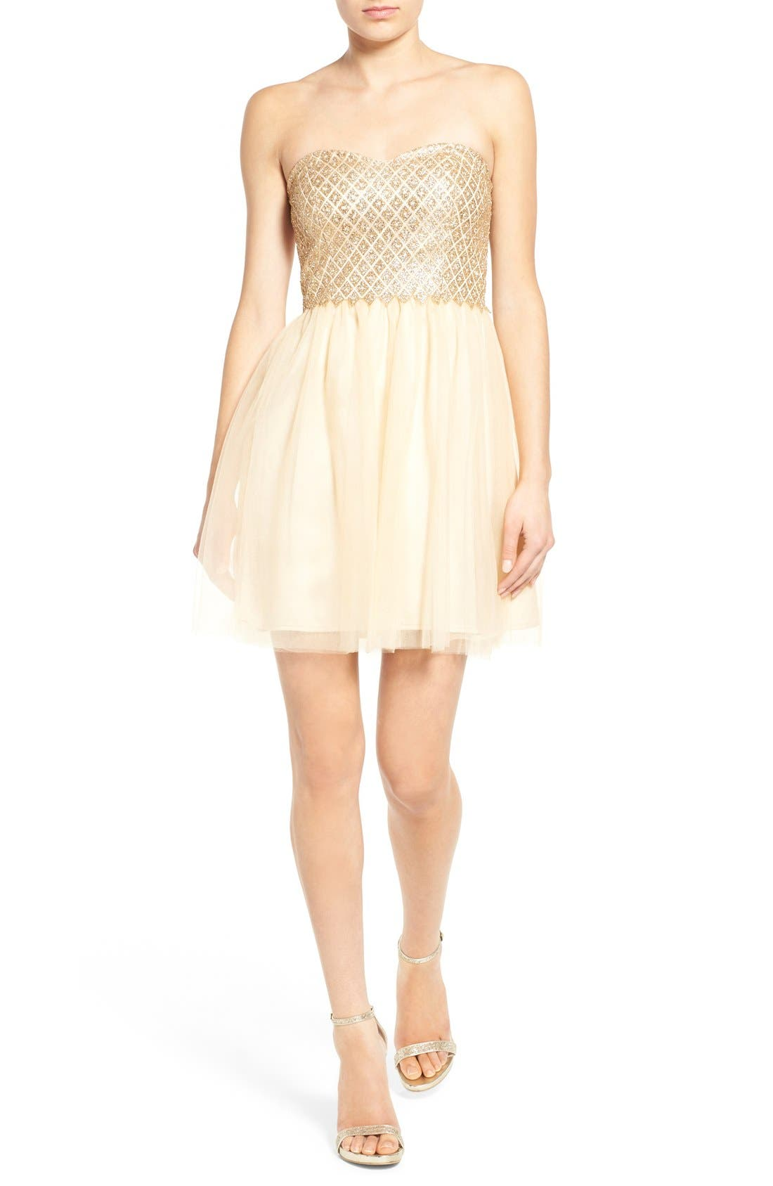 Main Image - a. drea Strapless Glitter Bodice Fit & Flare Dress