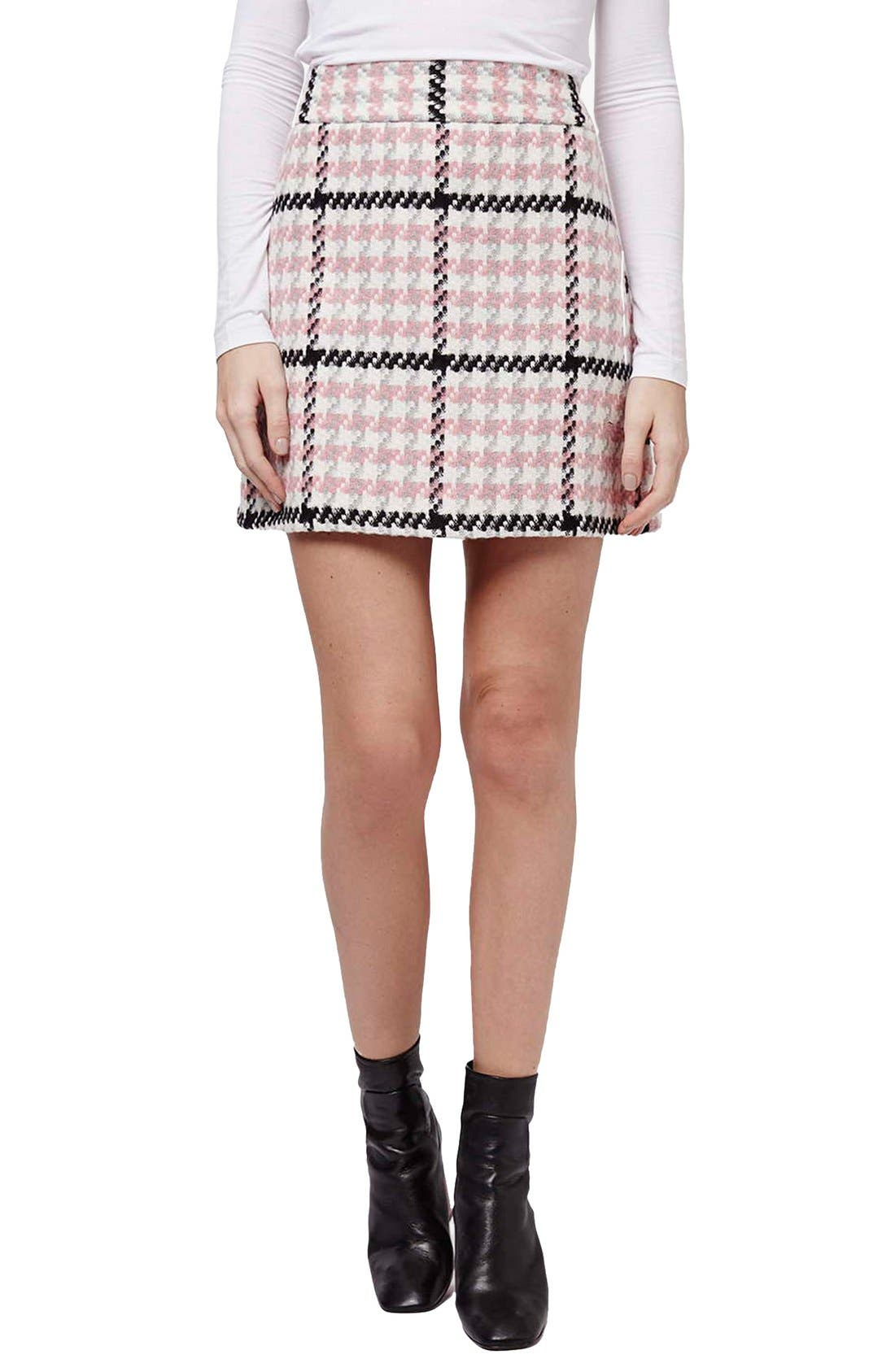 Main Image - Topshop Houndstooth A-Line Skirt