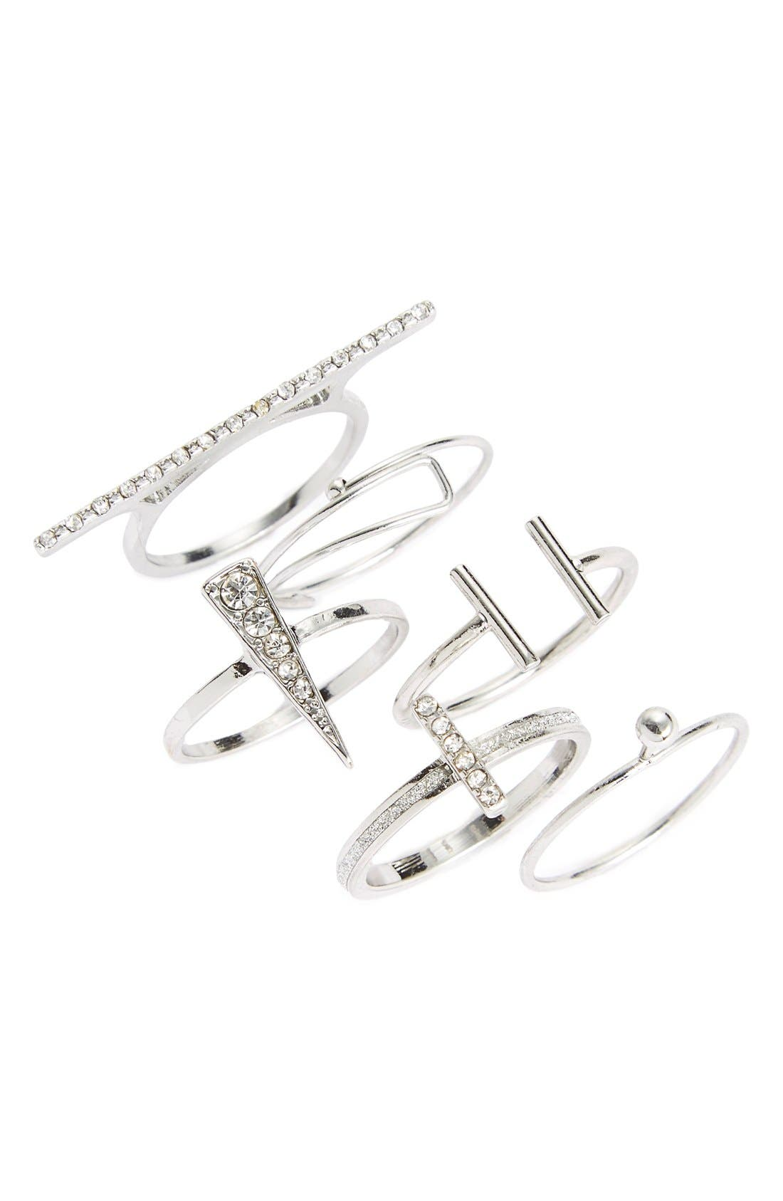 Main Image - Topshop Rhinestone Layering Rings (Set of 6)