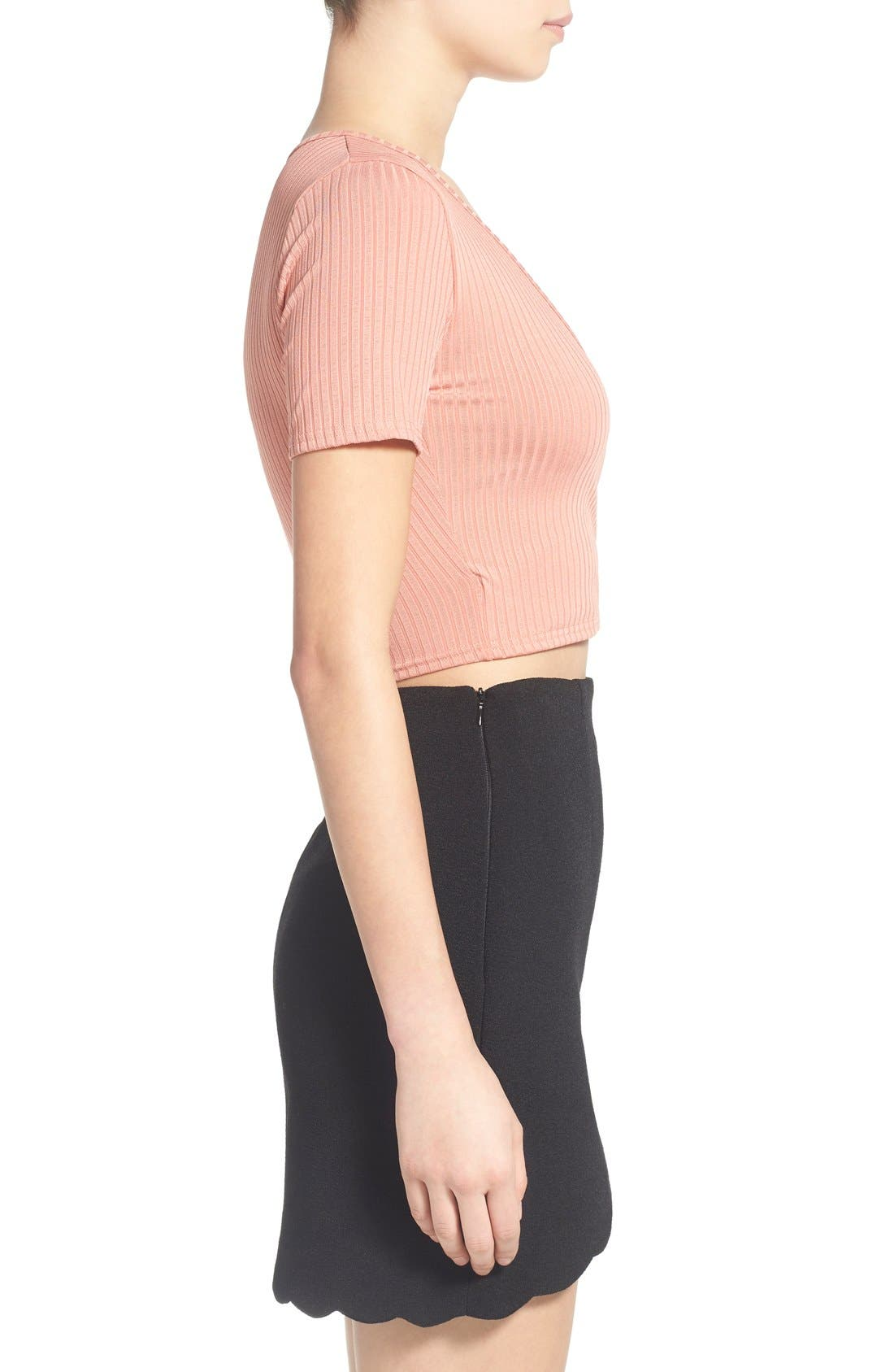 Alternate Image 3  - Missguided Rib Wrap Front Crop Top