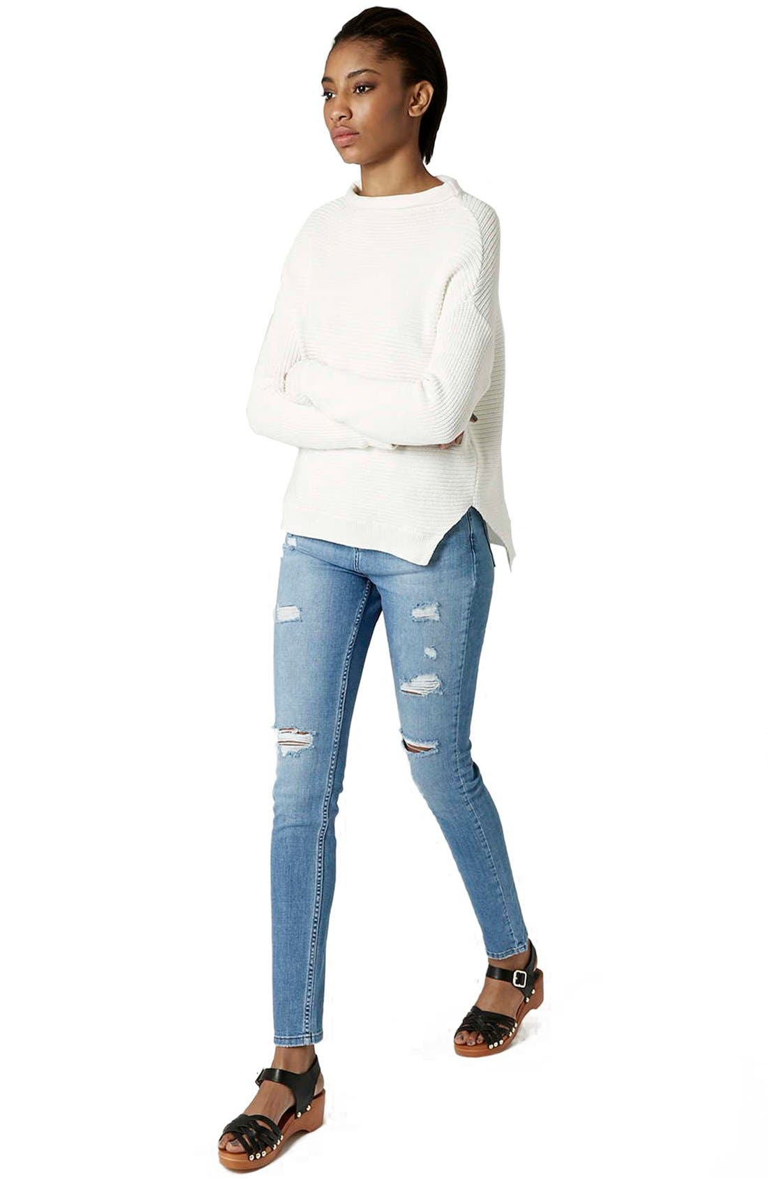 Alternate Image 2  - Topshop Moto Ripped Skinny Jeans (Tall)