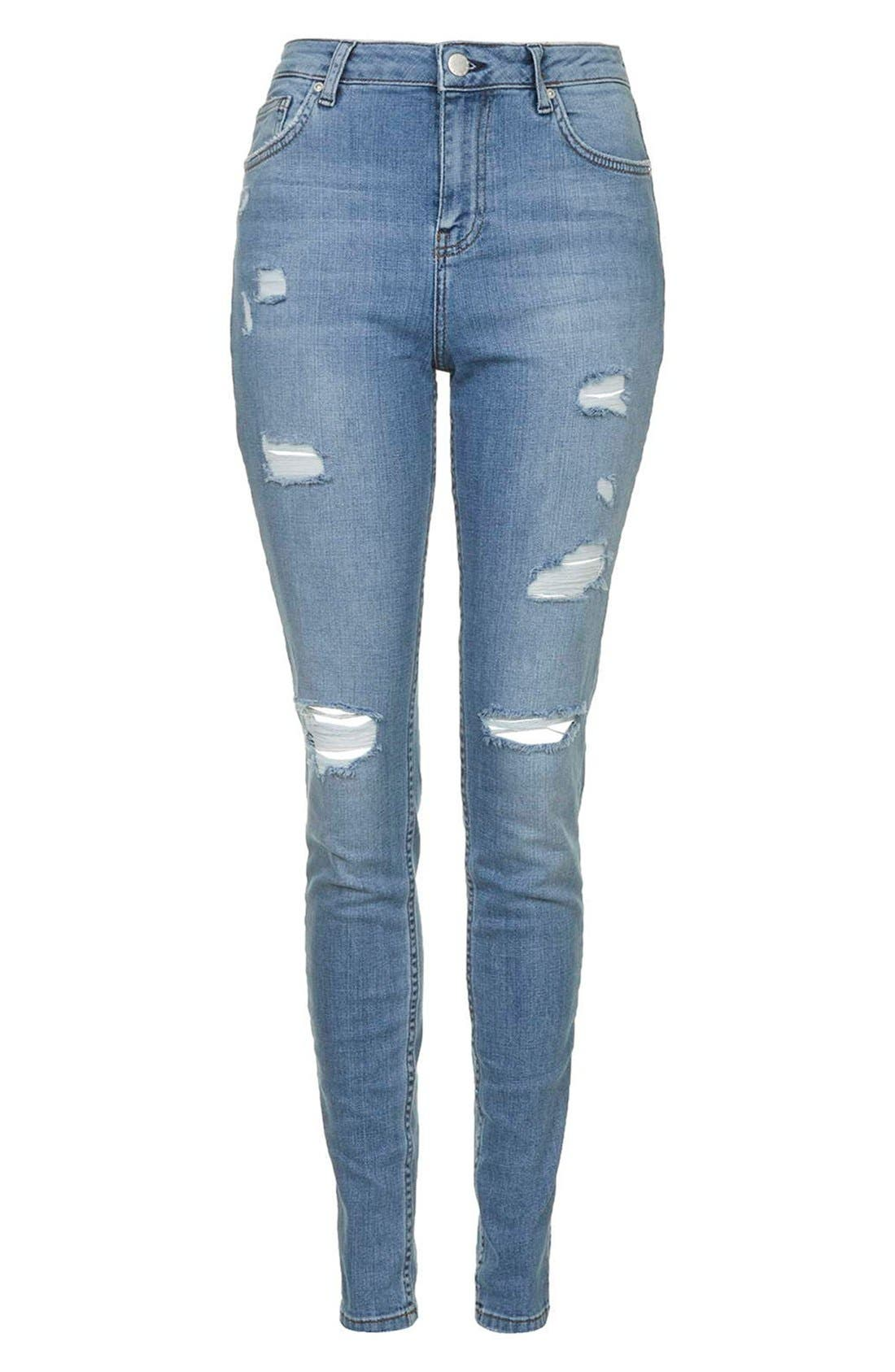 Alternate Image 4  - Topshop Moto Ripped Skinny Jeans (Tall)