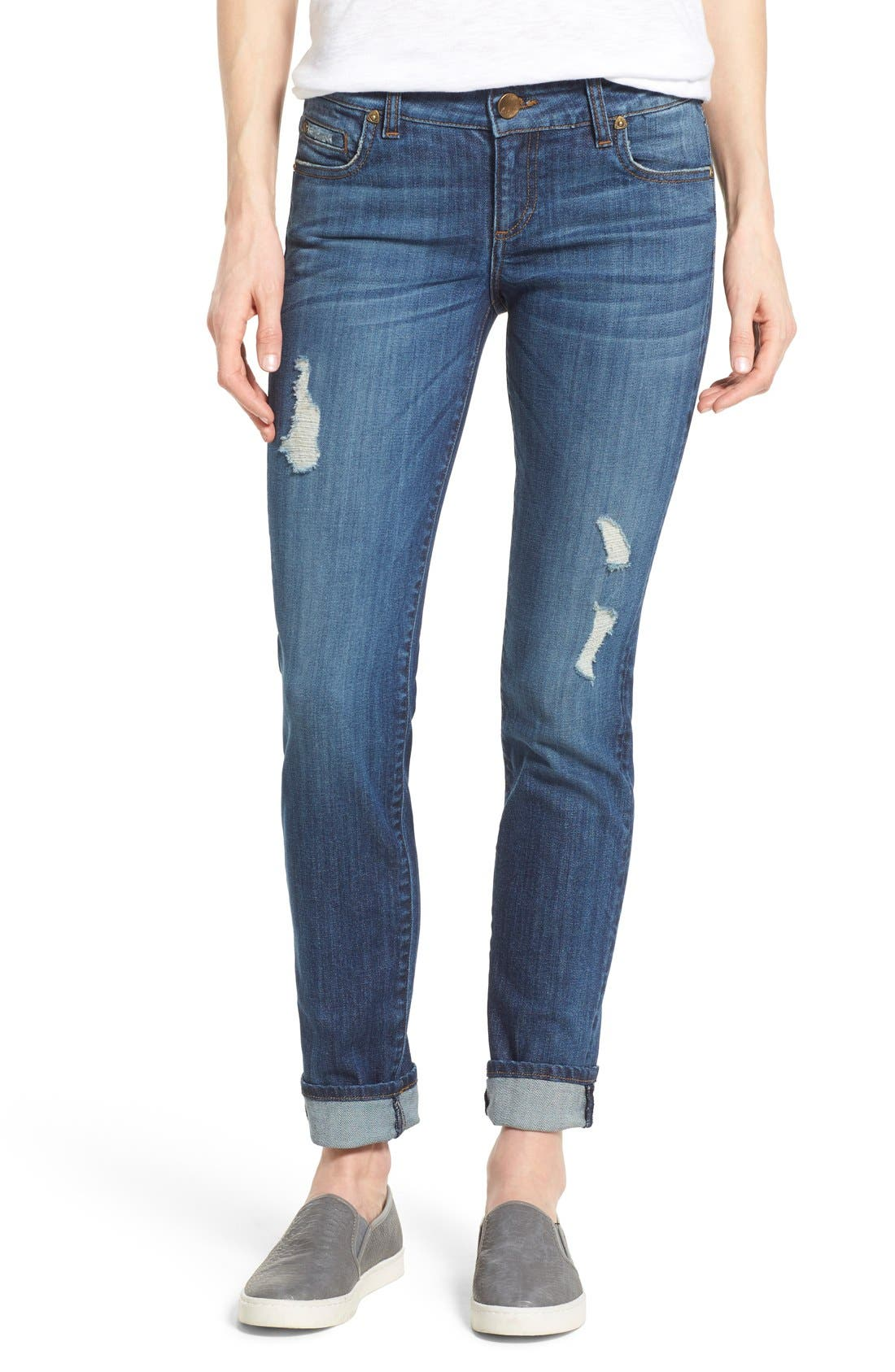 Main Image - KUT from the Kloth 'Catherine' Distressed Stretch Boyfriend Jeans (Yearn) (Regular & Petite)