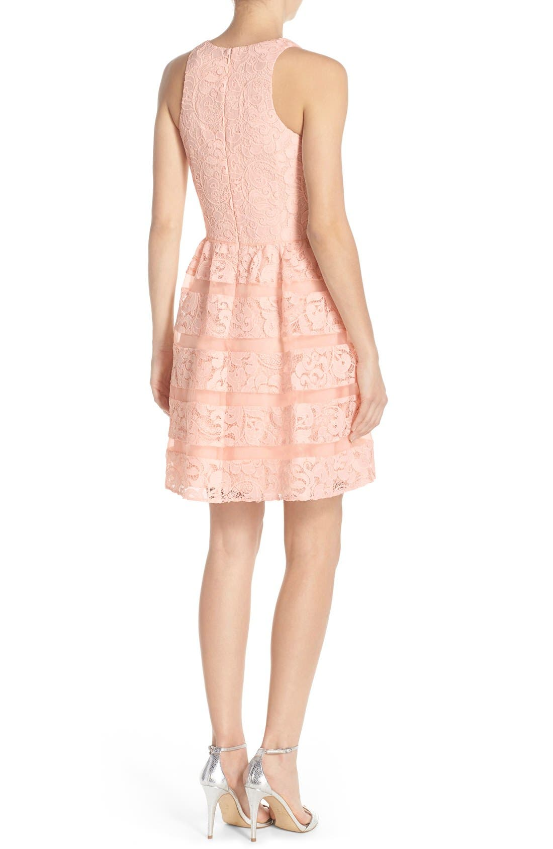 Alternate Image 2  - Aidan by Aidan Mattox Organza Shadow Stripe Lace Fit & Flare Dress