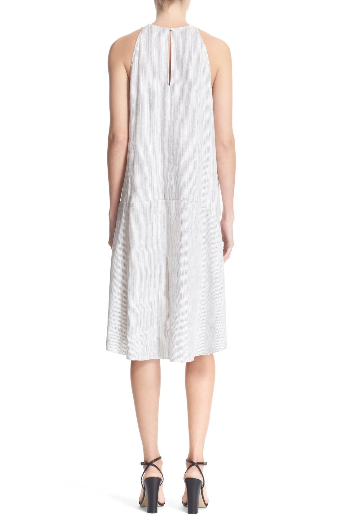 Alternate Image 2  - Theory 'Adlerdale' Stripe Sleeveless Linen Blend Dress