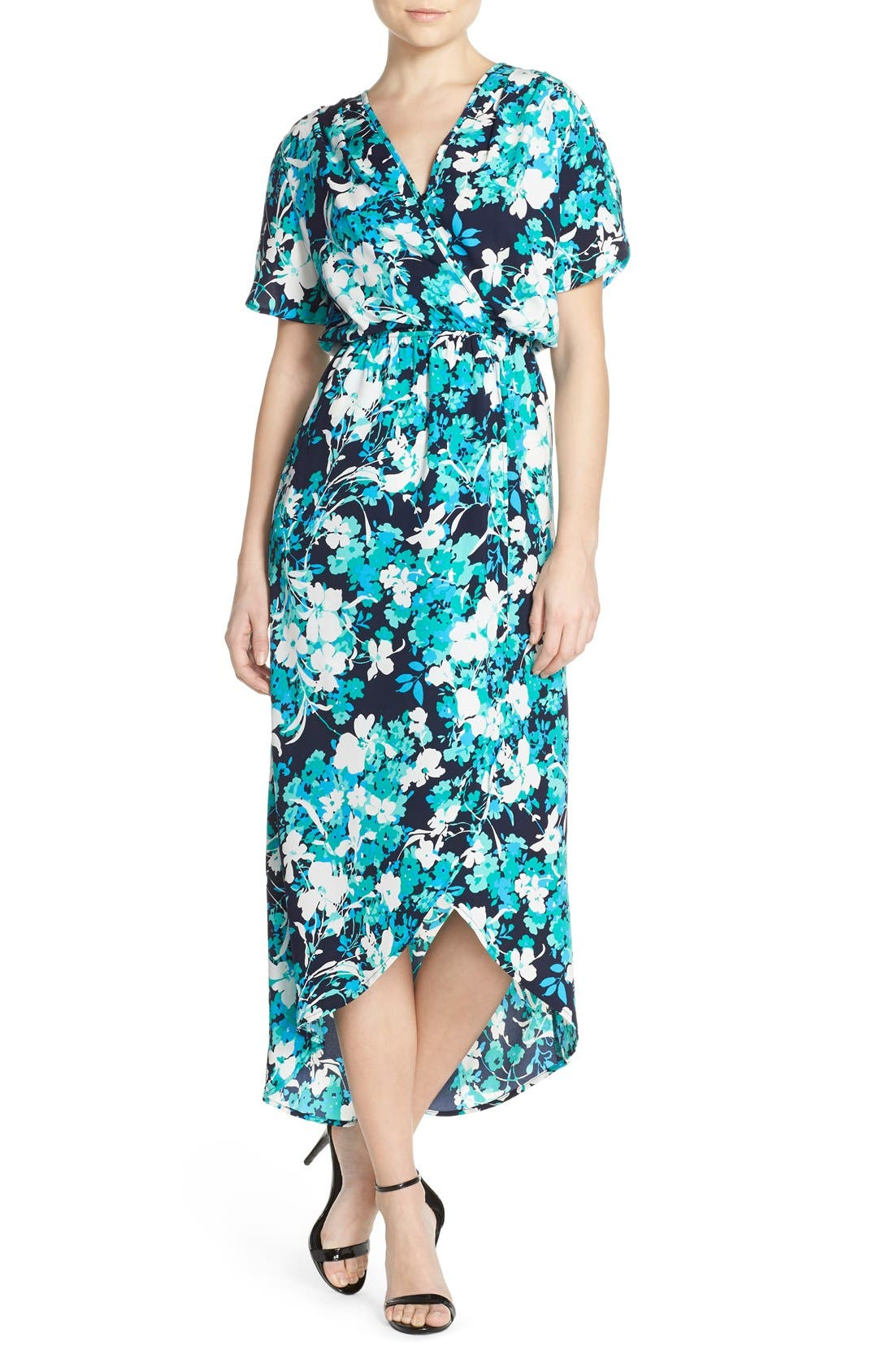 Alternate Image 1 Selected - Fraiche by J Floral Print Woven High/Low Maxi Dress