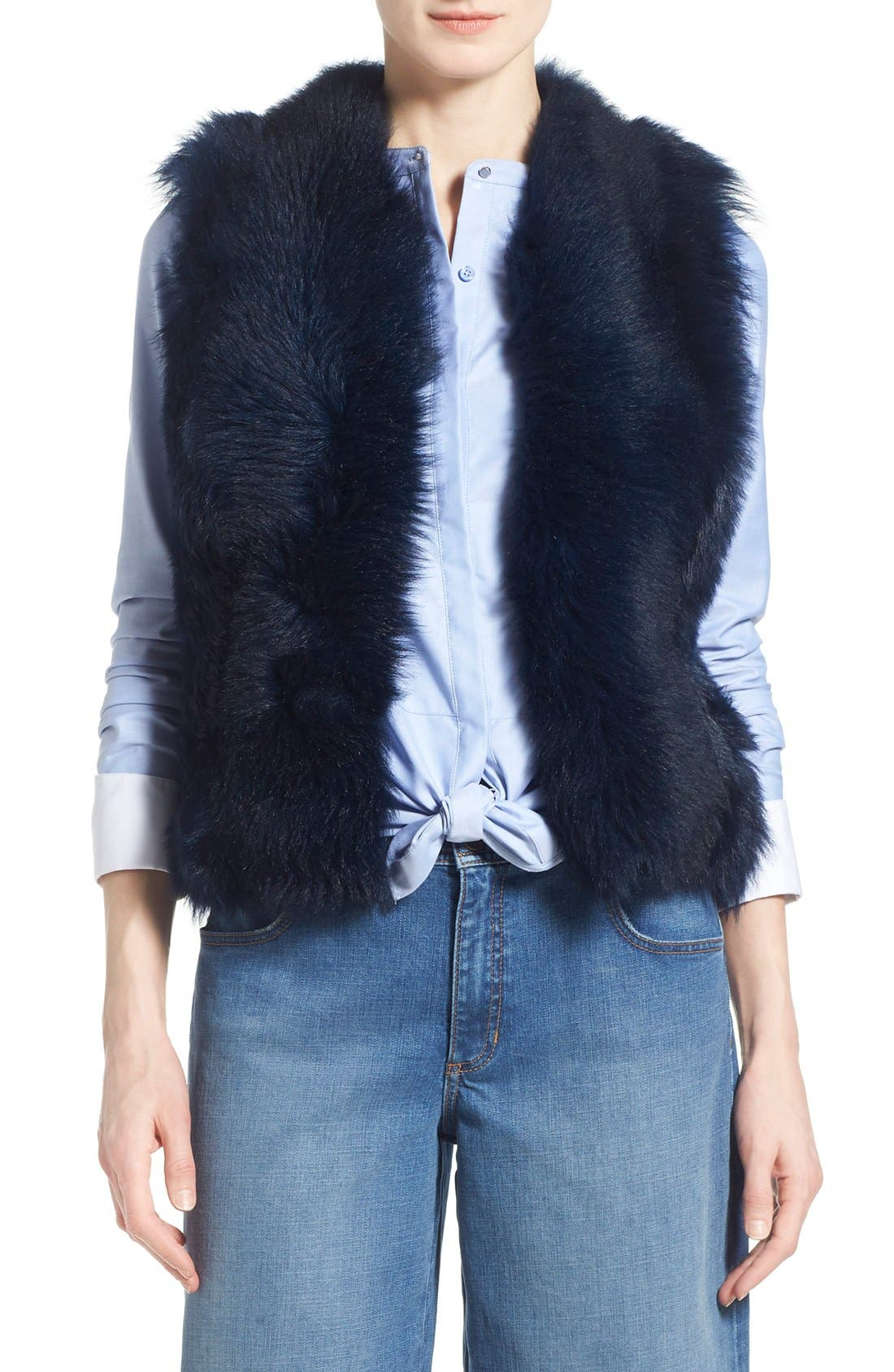 Alternate Image 1 Selected - Olivia Palermo + Chelsea28 Genuine Shearling Peplum Vest