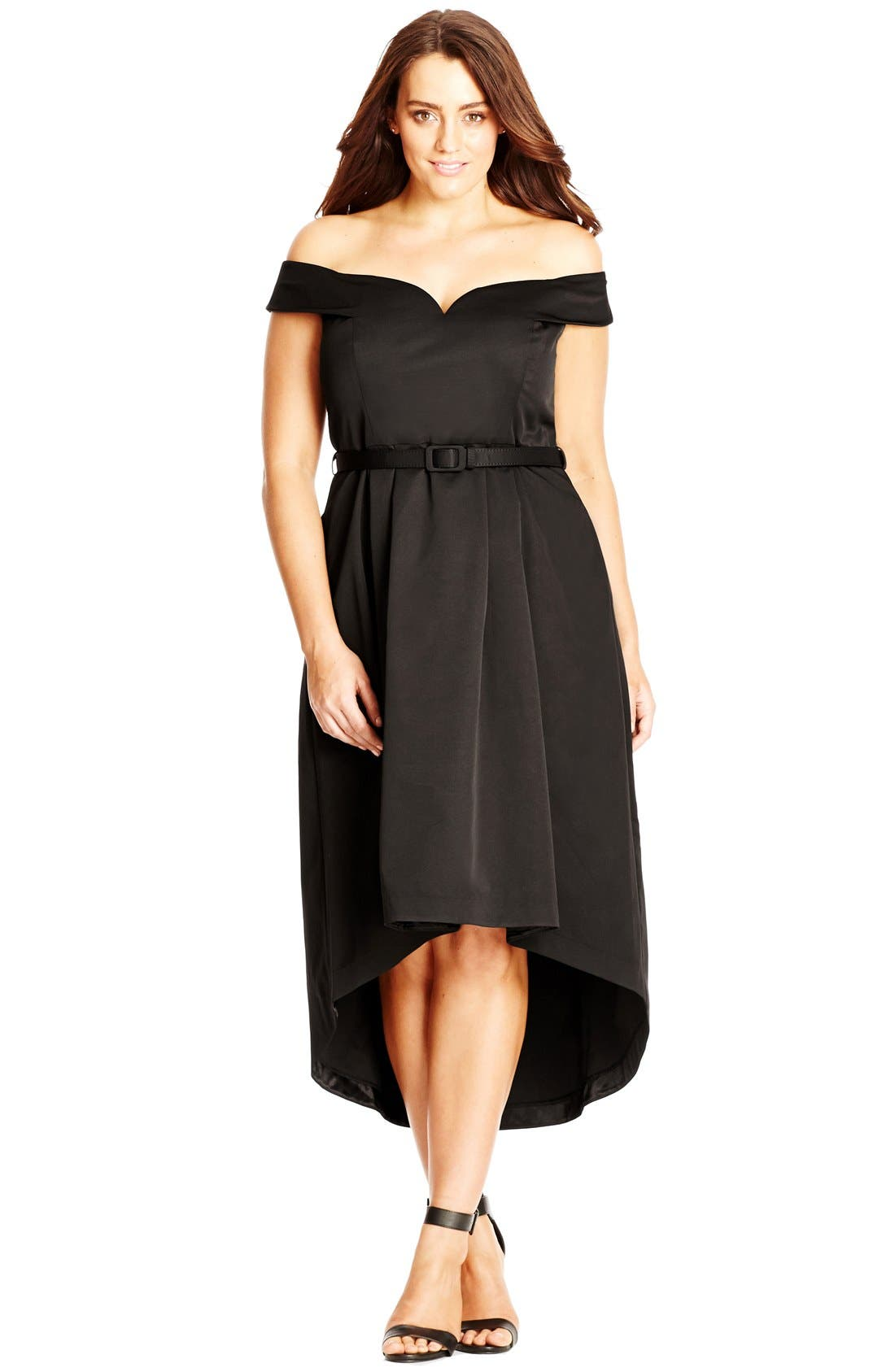 Alternate Image 3  - City Chic High/Low Off the Shoulder Dress (Plus Size)
