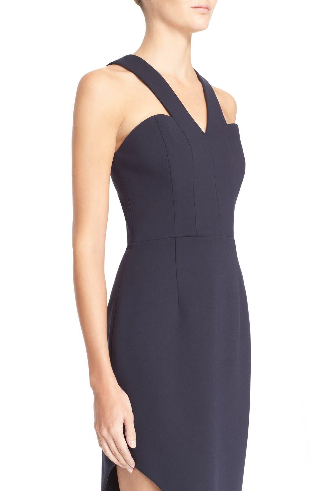 Alternate Image 4  - N Nicholas 'Ponti Curve' Halter Dress with Asymmetrical Hem