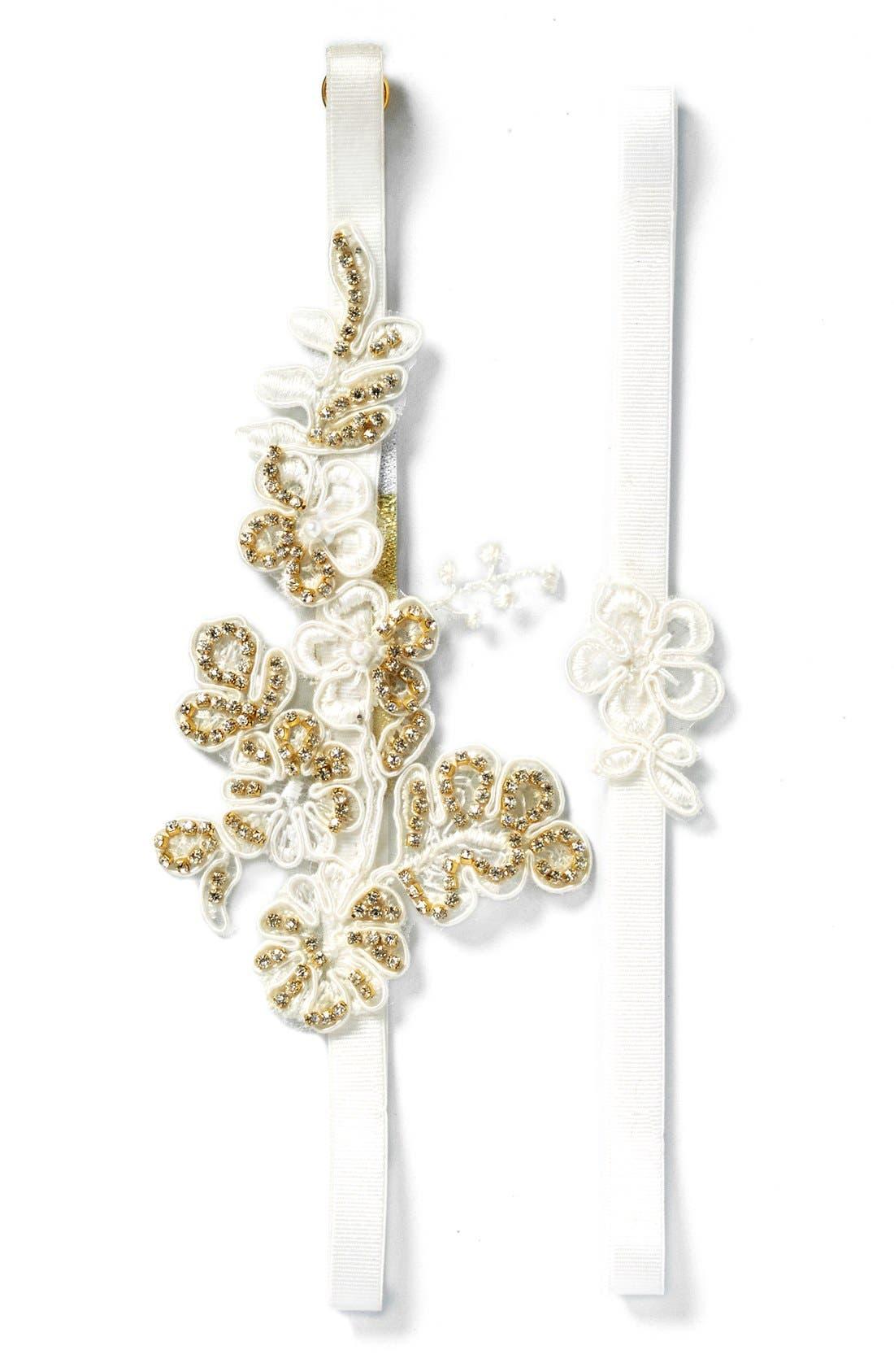 Camilla Christine 'Lili' Golden Embellished Embroidered Garter Set