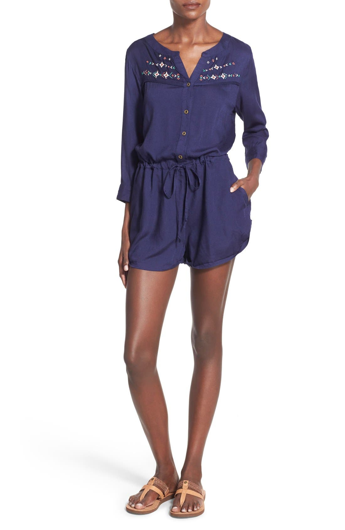 Main Image - Roxy 'Tightrope' Embroidered Romper