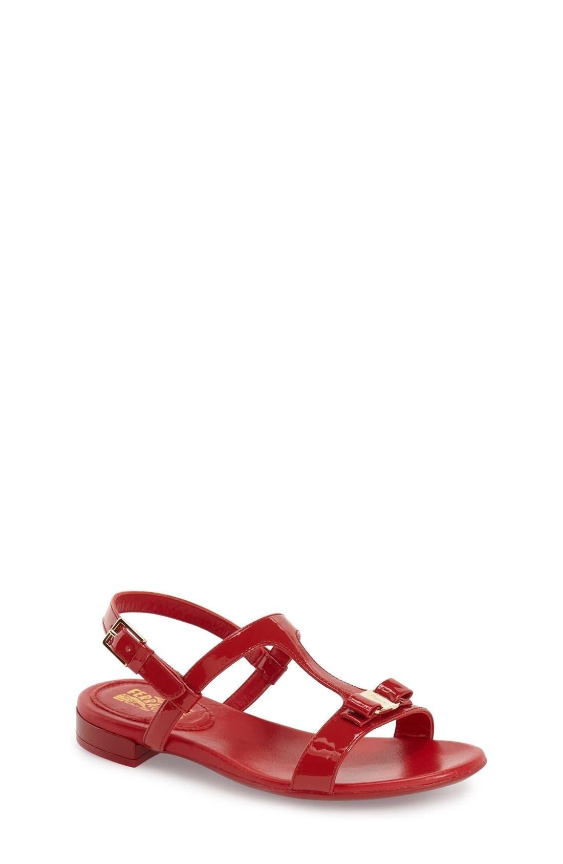 SALVATORE FERRAGAMO 'Ariel 2' Patent Leather T-Strap Sandal
