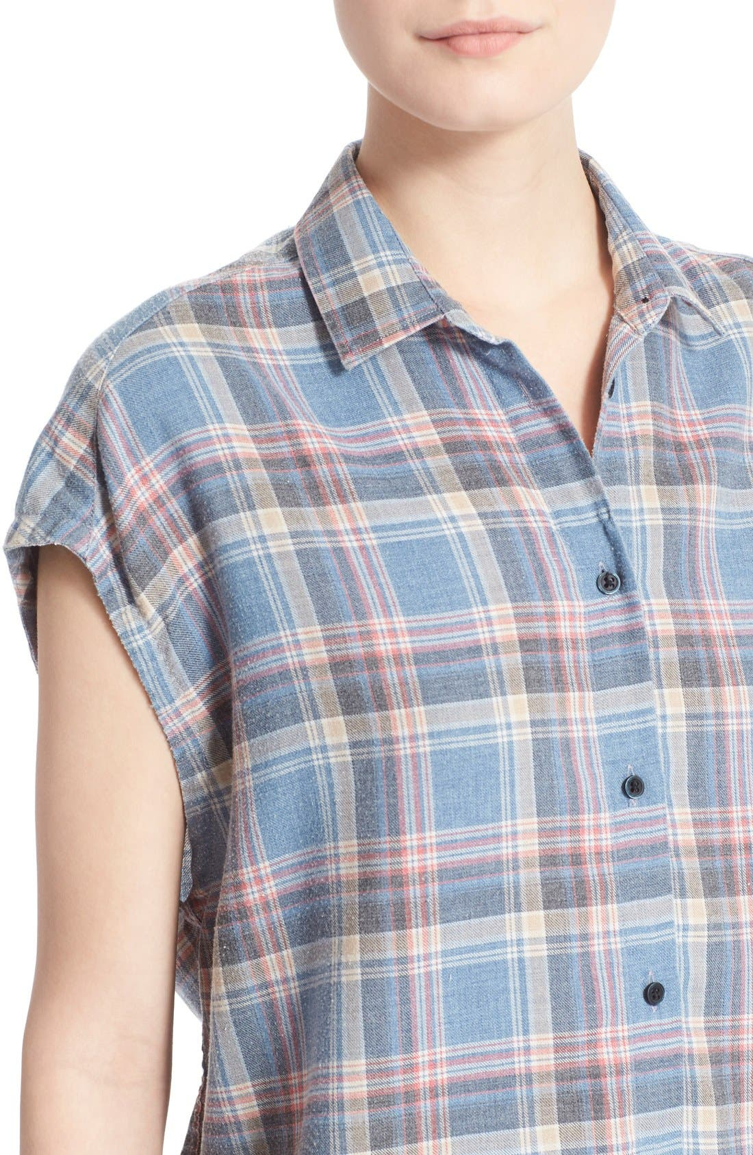 Alternate Image 4  - IRO 'Dally' Woven Plaid Cap Sleeve Shirt