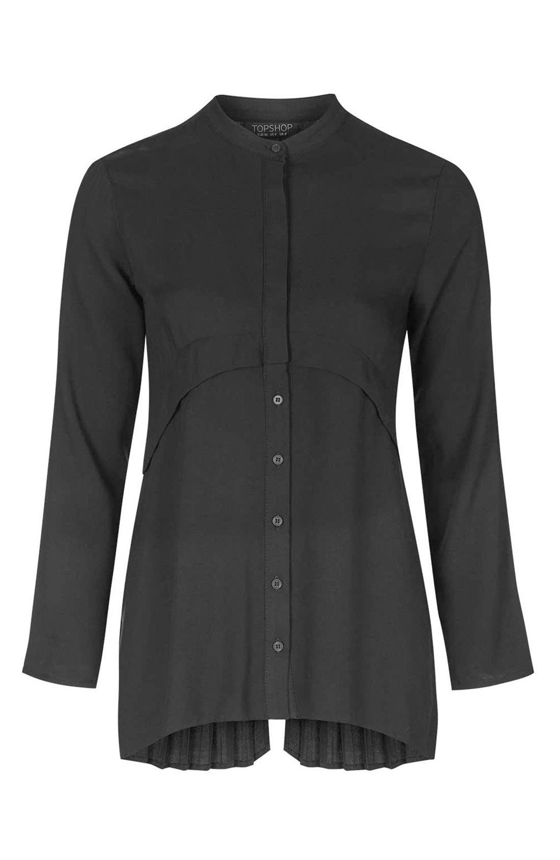 Alternate Image 4  - Topshop Overlay Back Pleat Shirt