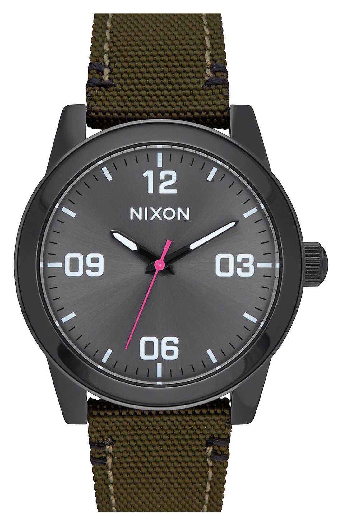 Nixon 'G.I.' Round Dial Nylon Strap Watch, 36mm