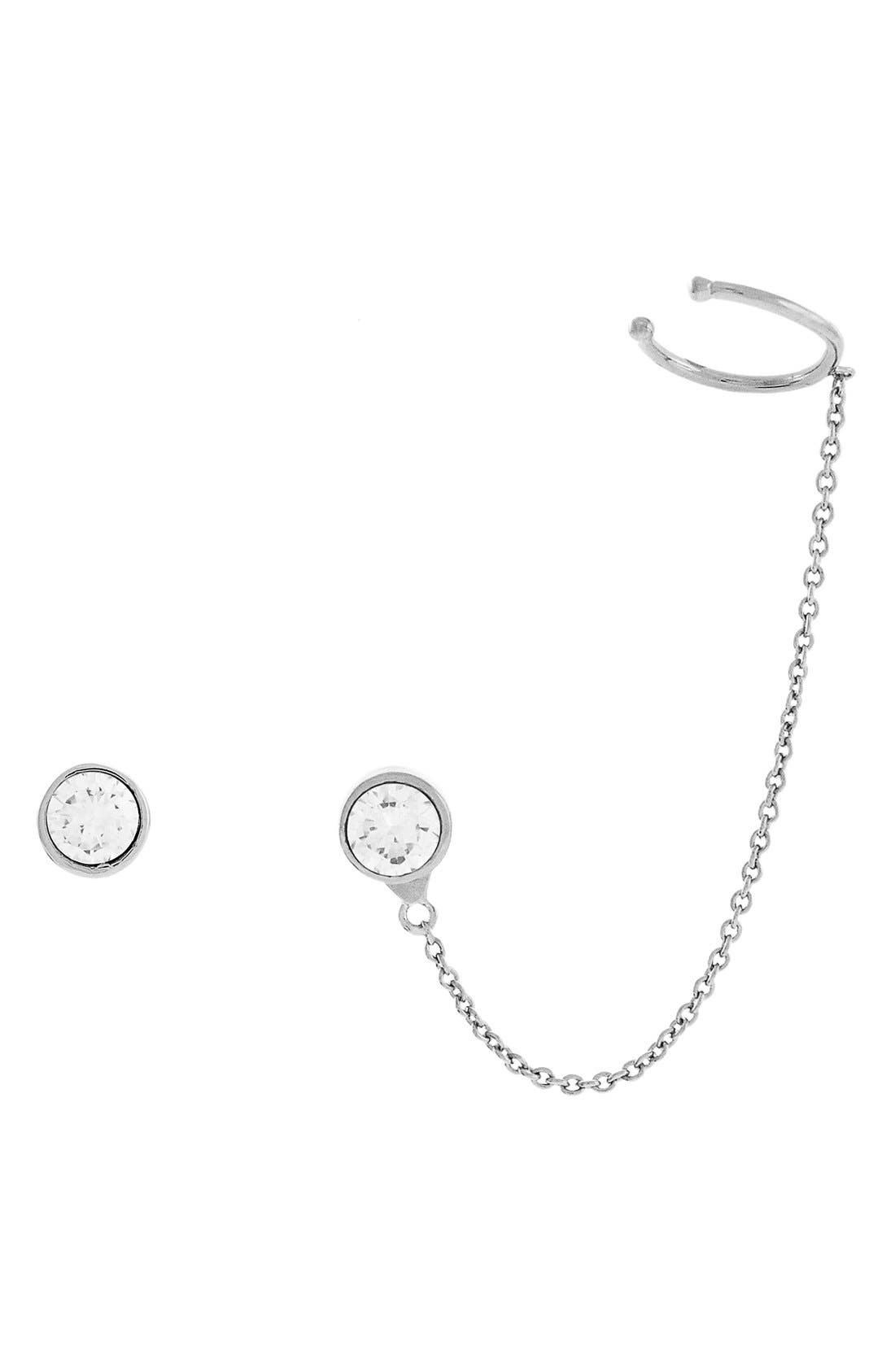 Alternate Image 1 Selected - Vince Camuto Stud & Ear Chain Mismatched Earrings