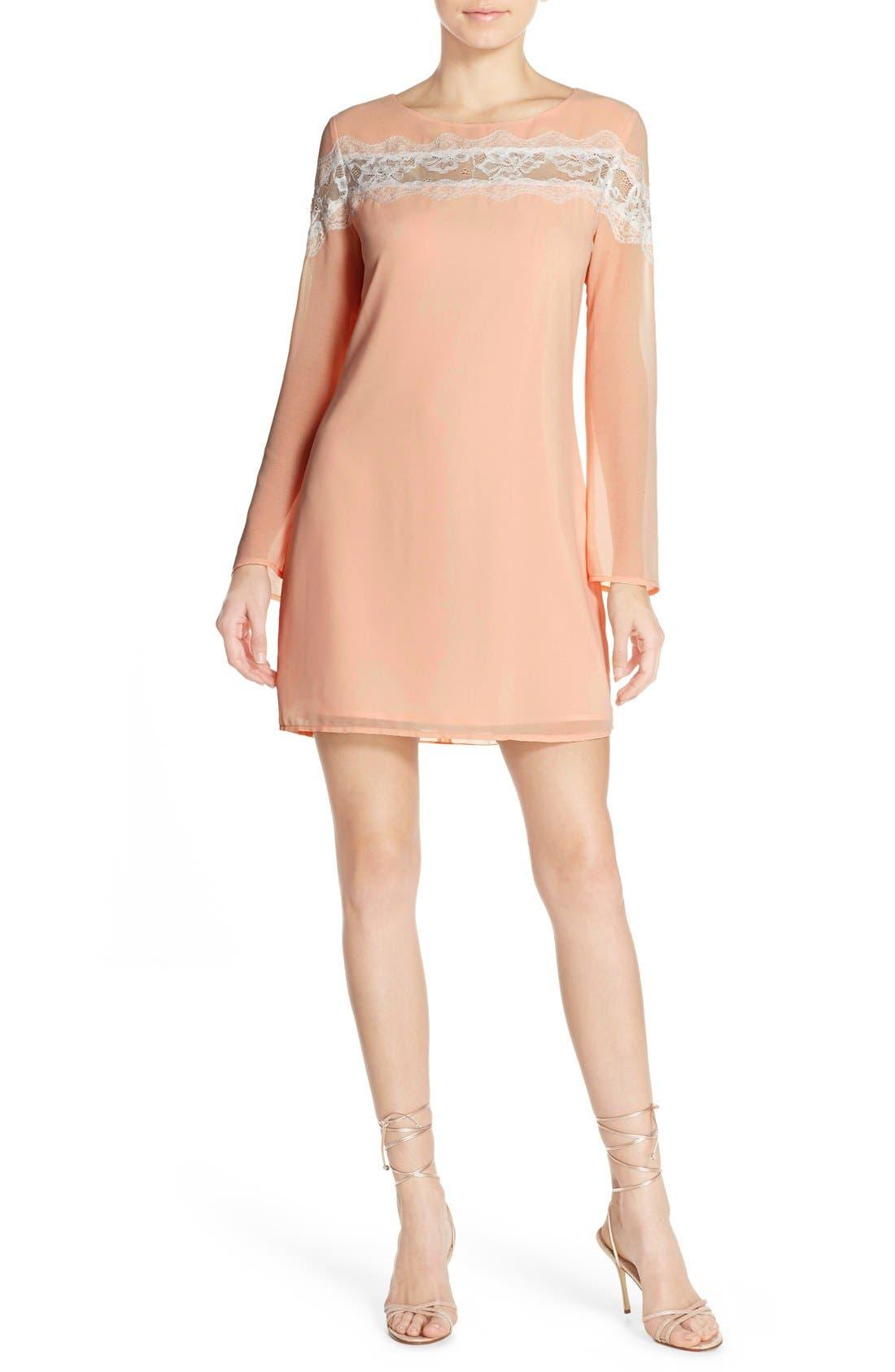 Alternate Image 4  - Chelsea28 Lace Trim Chiffon Shift Dress