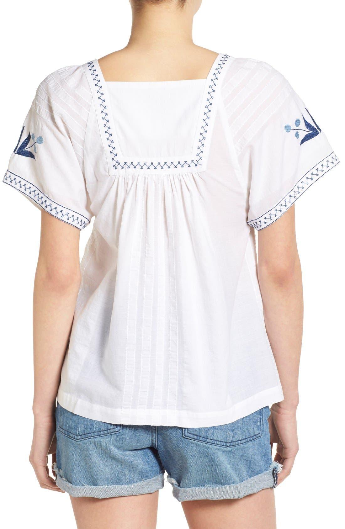 Alternate Image 2  - Madewell Embroidered Short Sleeve Peasant Top