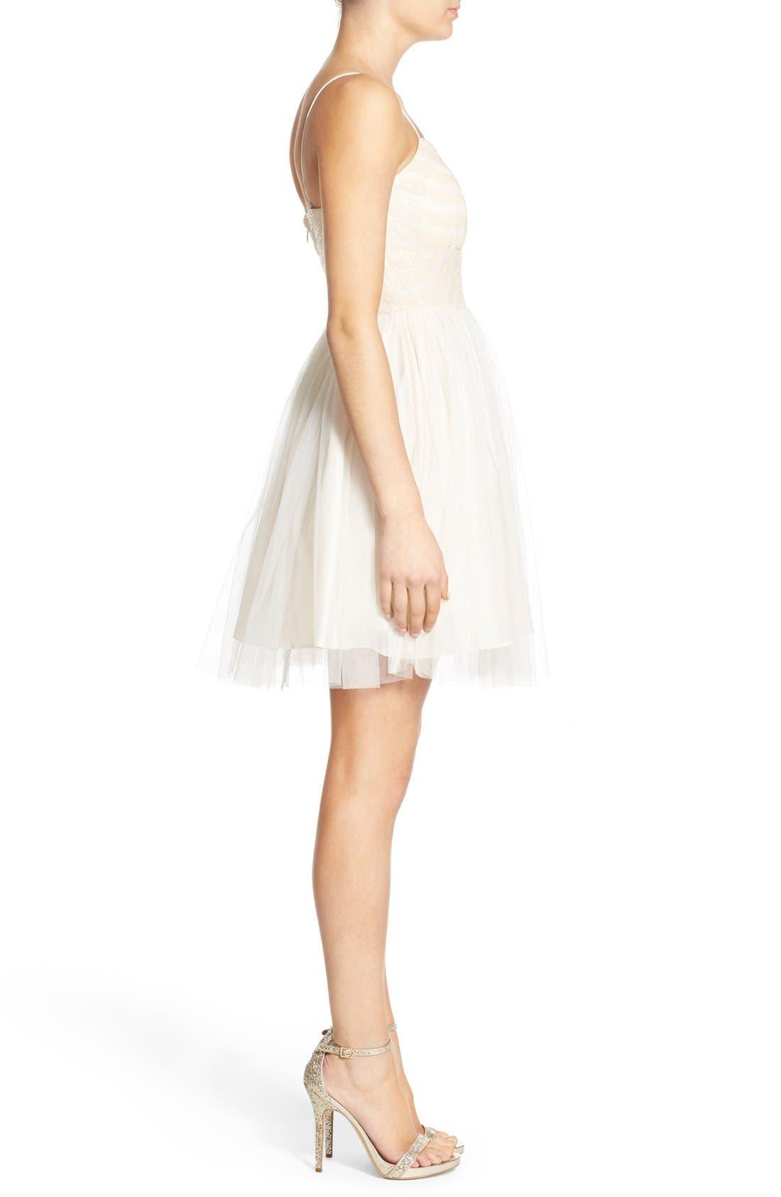 Alternate Image 3  - Soloiste 'Kacey' Sequin Tulle Skater Dress