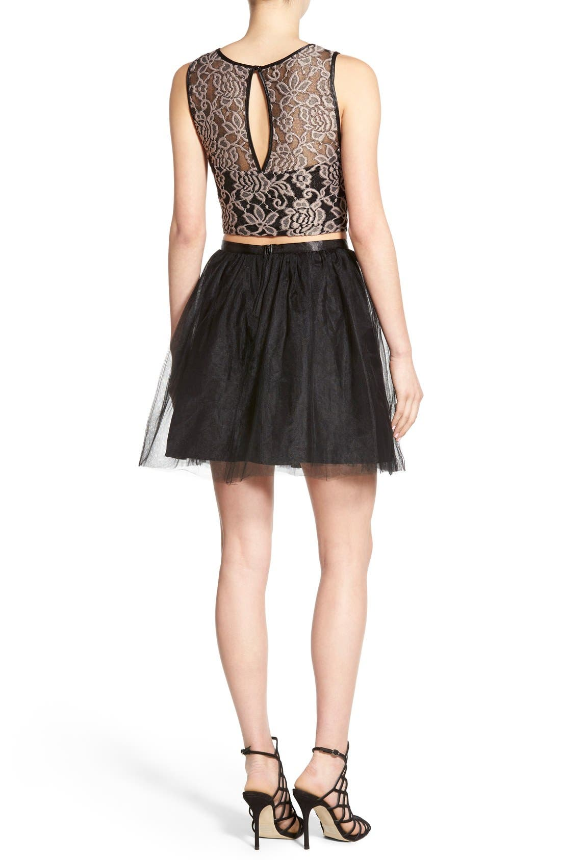 Alternate Image 2  - Love, Nickie Lew Lace Bodice Two-Piece Dress