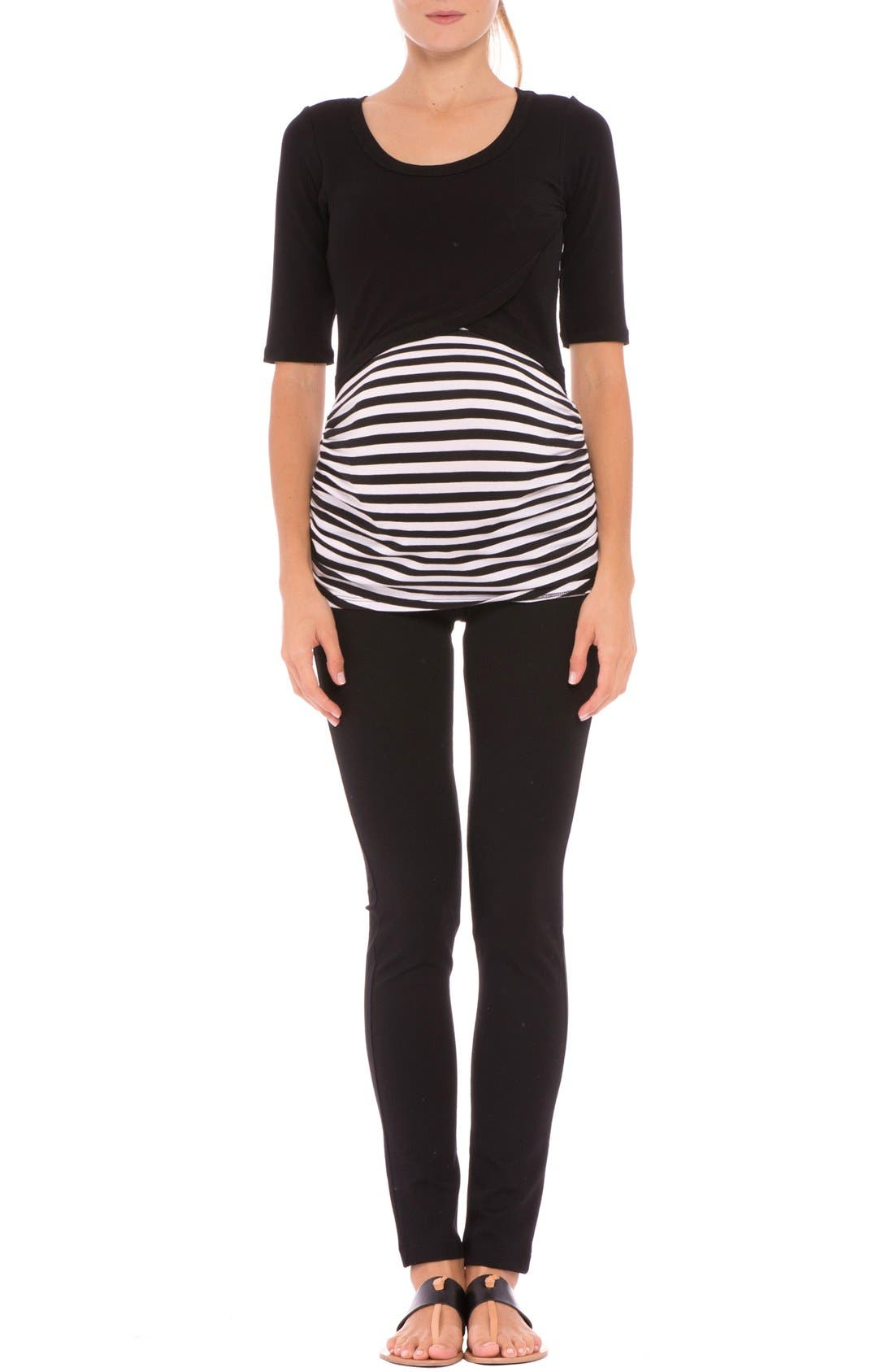 Olian 'Mandy' Stripe Maternity/Nursing Elbow Sleeve Top