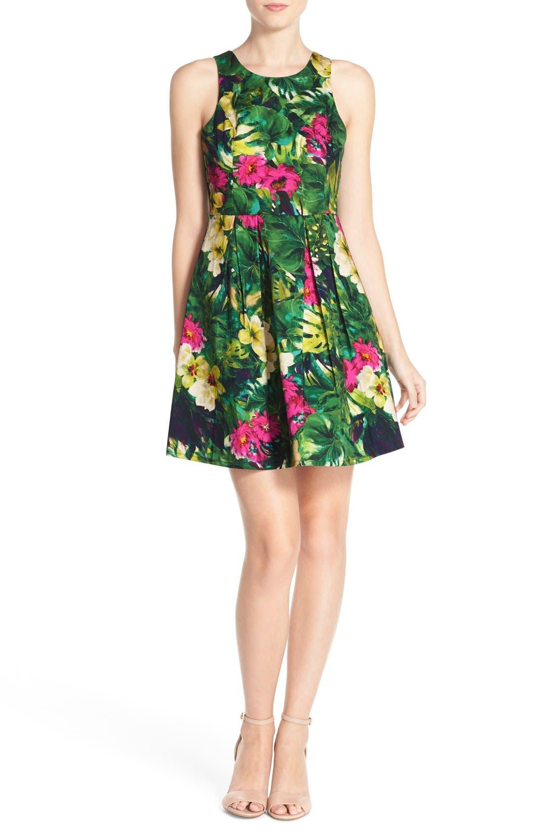 Alternate Image 4  - Felicity & Coco Floral Print Fit & Flare Dress (Regular & Petite) (Nordstrom Exclusive)