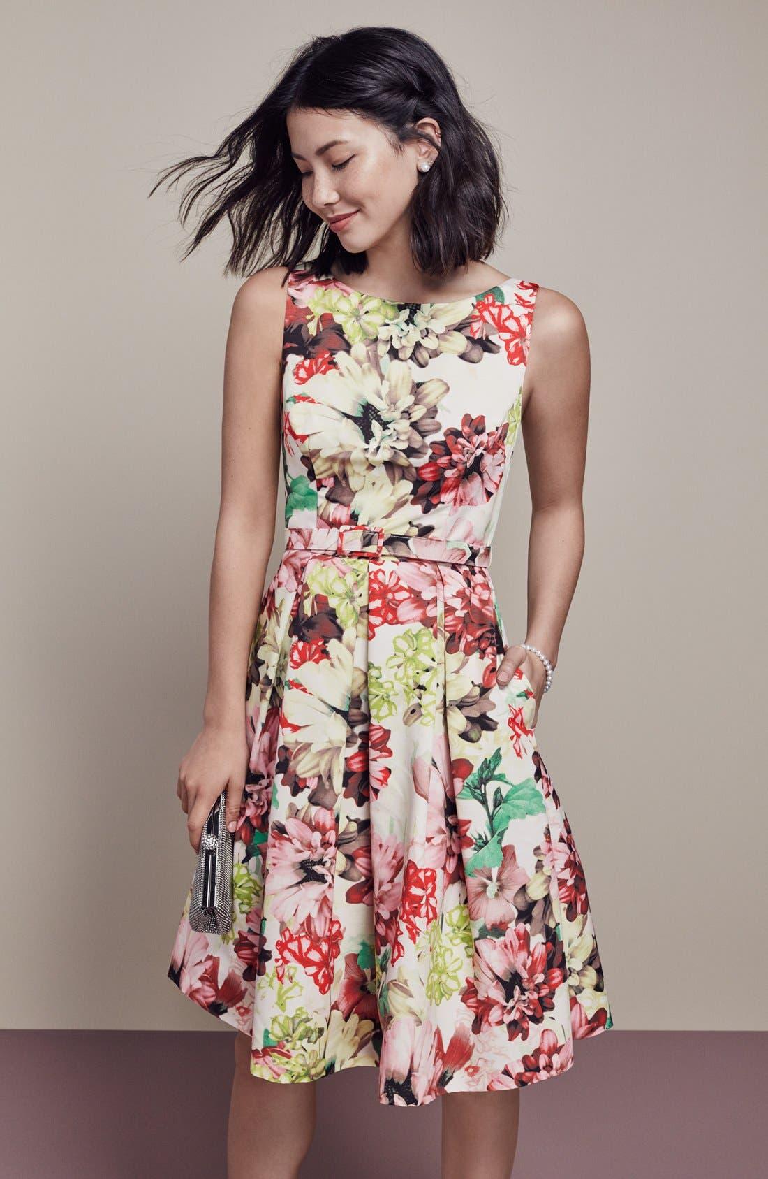 Alternate Image 7  - Eliza J Belted Floral Print Faille Fit & Flare Dress