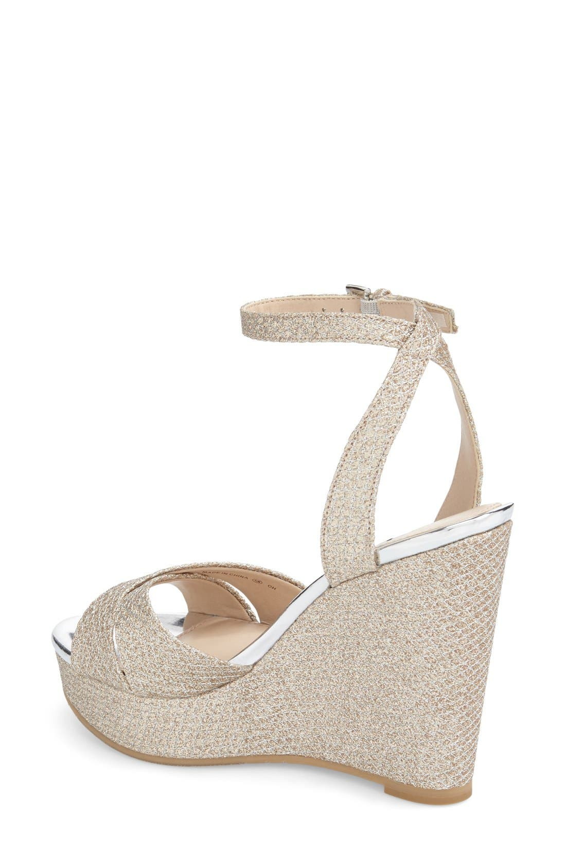 Alternate Image 2  - Nina 'Gianina' Glitter Mesh Wedge Sandal (Women)