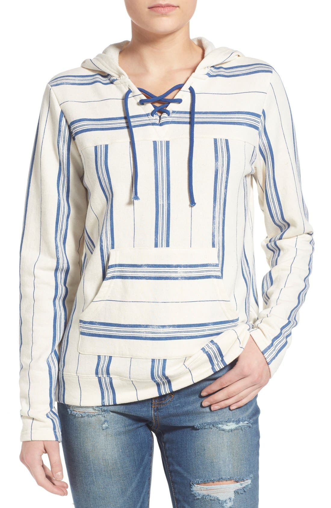 Main Image - Element 'Gem' Stripe Lace-Up Hoodie