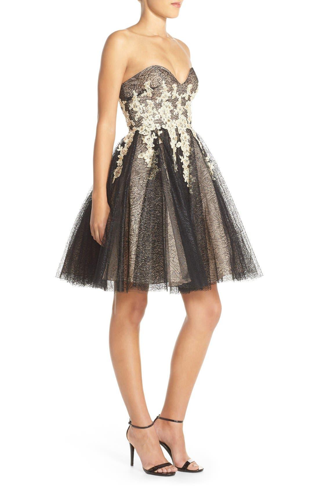 Alternate Image 3  - Terani Couture Appliqué Lace Fit & Flare Dress