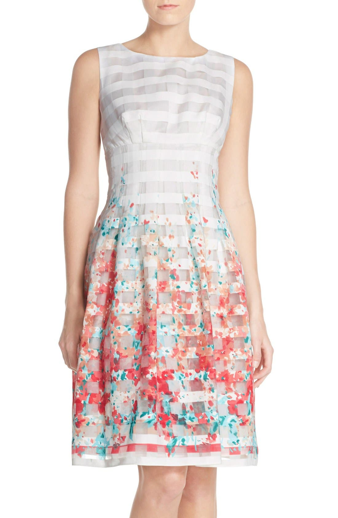 Alternate Image 1 Selected - Chetta B Floral Organza Fit & Flare Dress