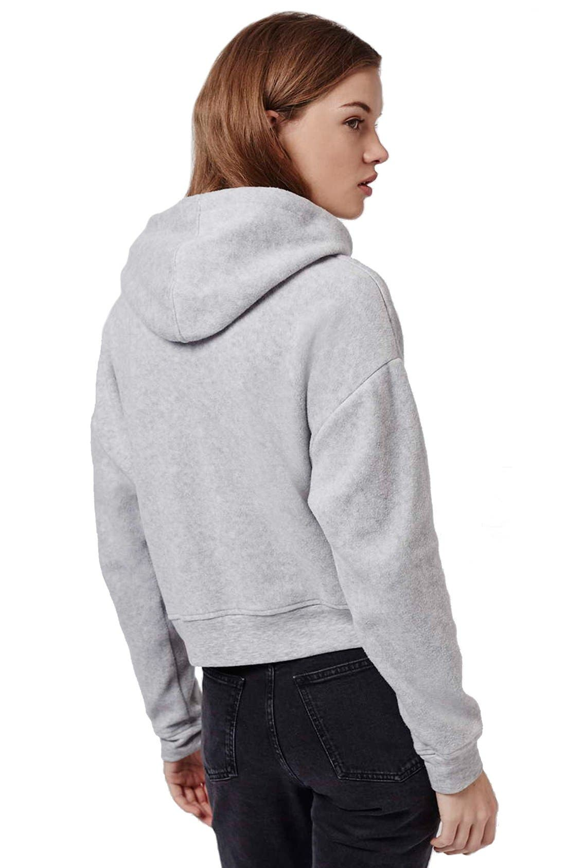 Alternate Image 3  - Topshop 'Arizona' Embroidered Brushed Fleece Hoodie